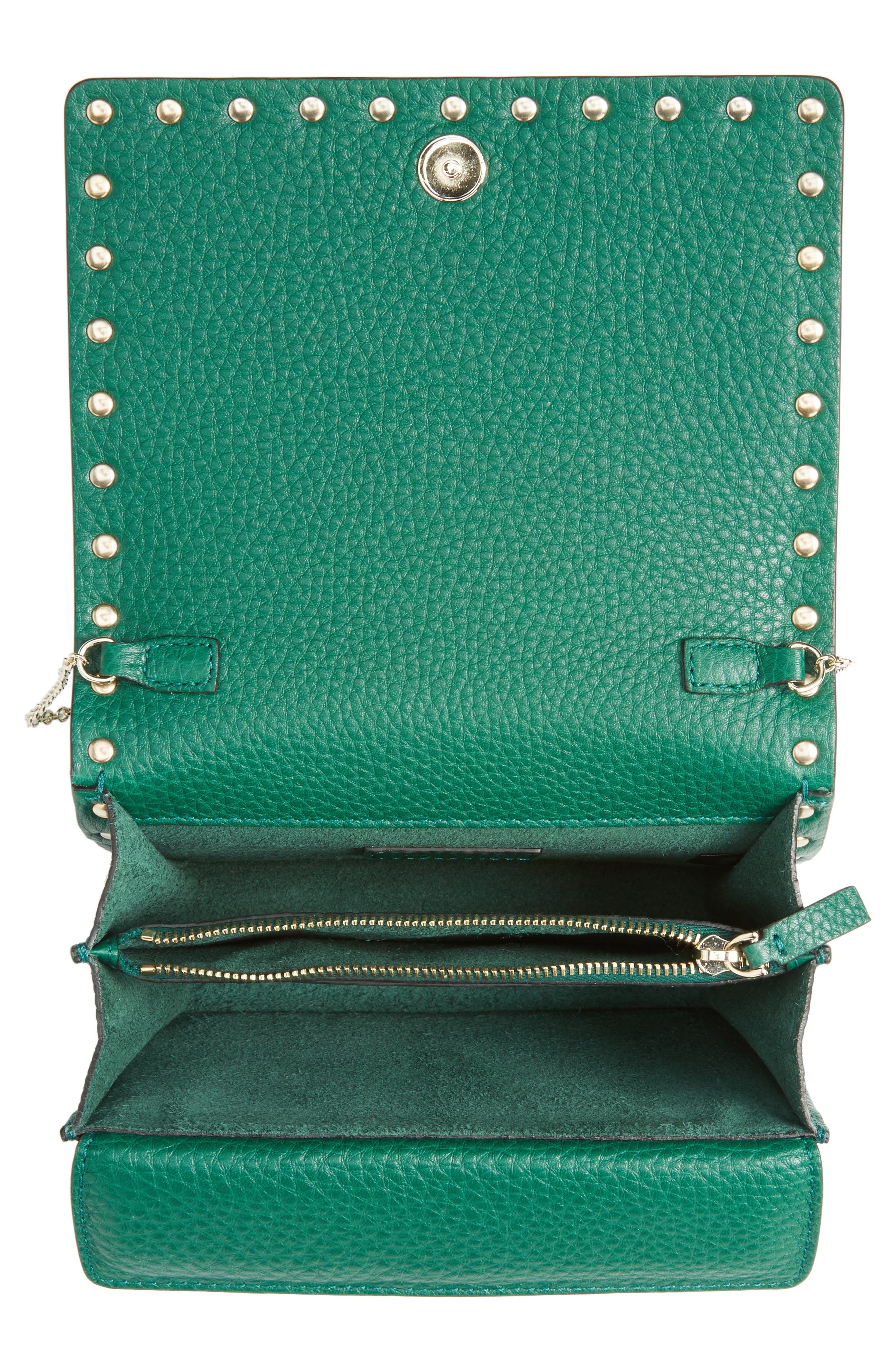 Rockstud Leather Wallet on a Chain,                             Alternate thumbnail 12, color,