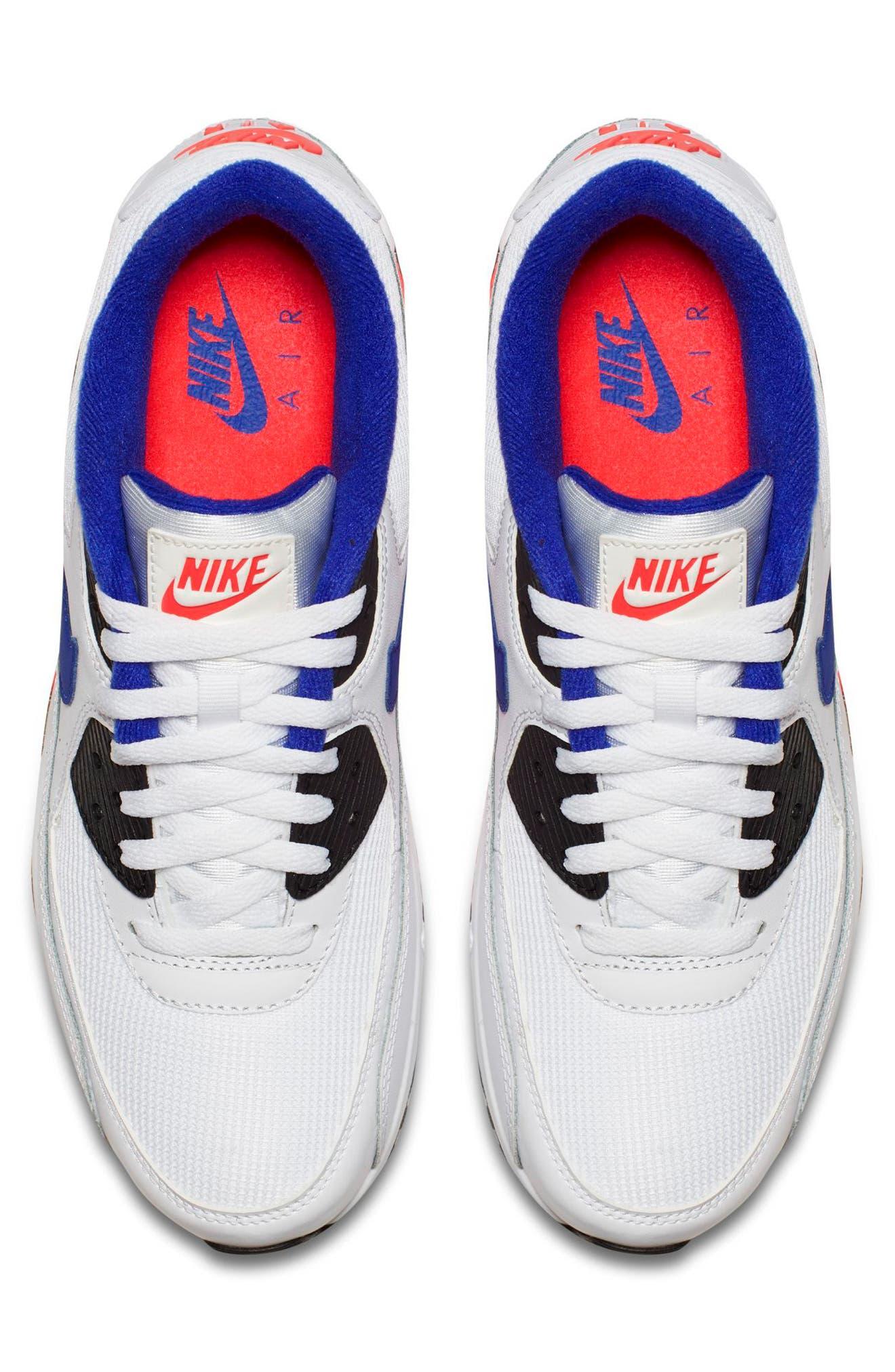 Air Max 90 Essential Sneaker,                             Alternate thumbnail 4, color,                             WHITE/ ULTRAMARINE