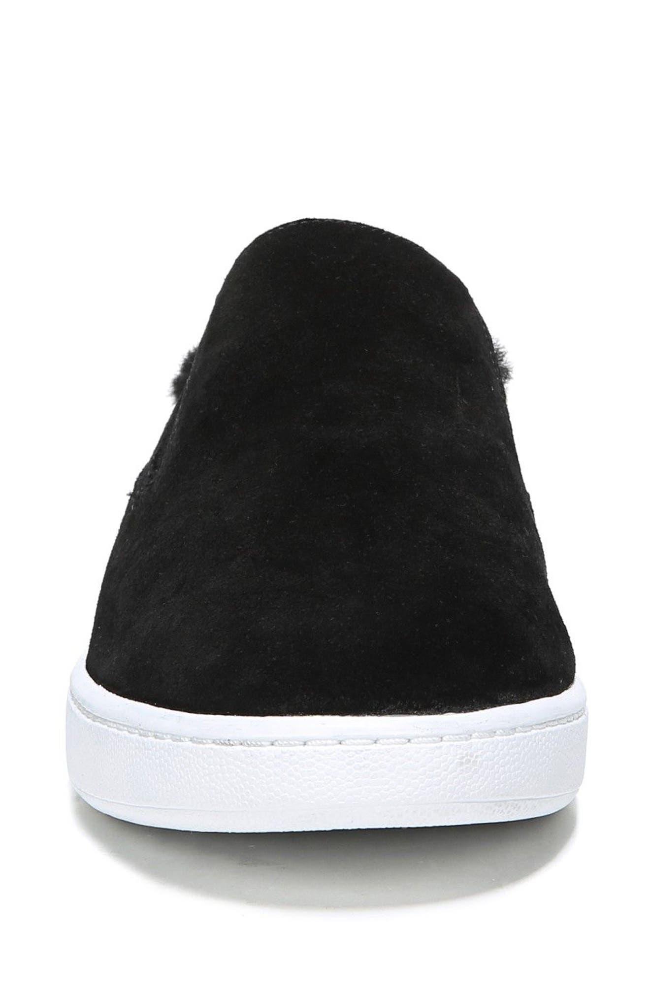 Verrell Genuine Shearling Slip-On Sneaker,                             Alternate thumbnail 4, color,                             001