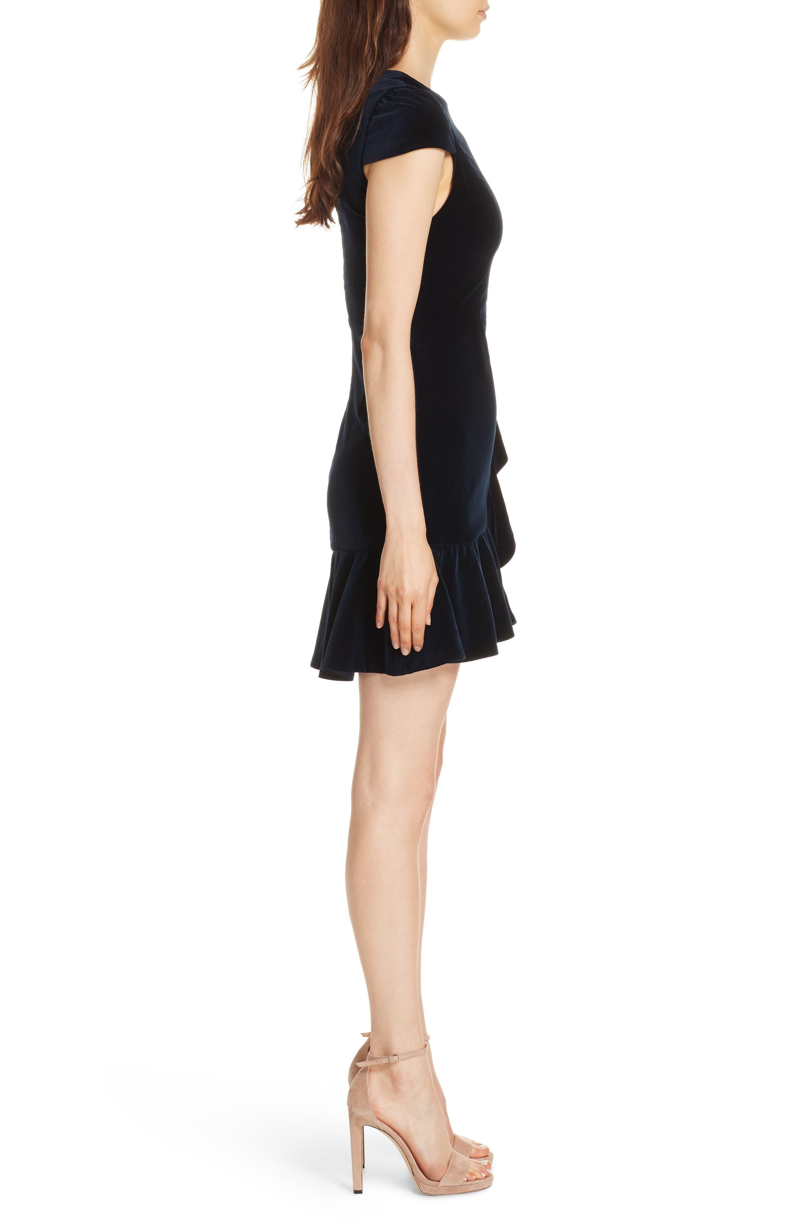 Enid Ruffled Velvet Minidress,                             Alternate thumbnail 3, color,                             410
