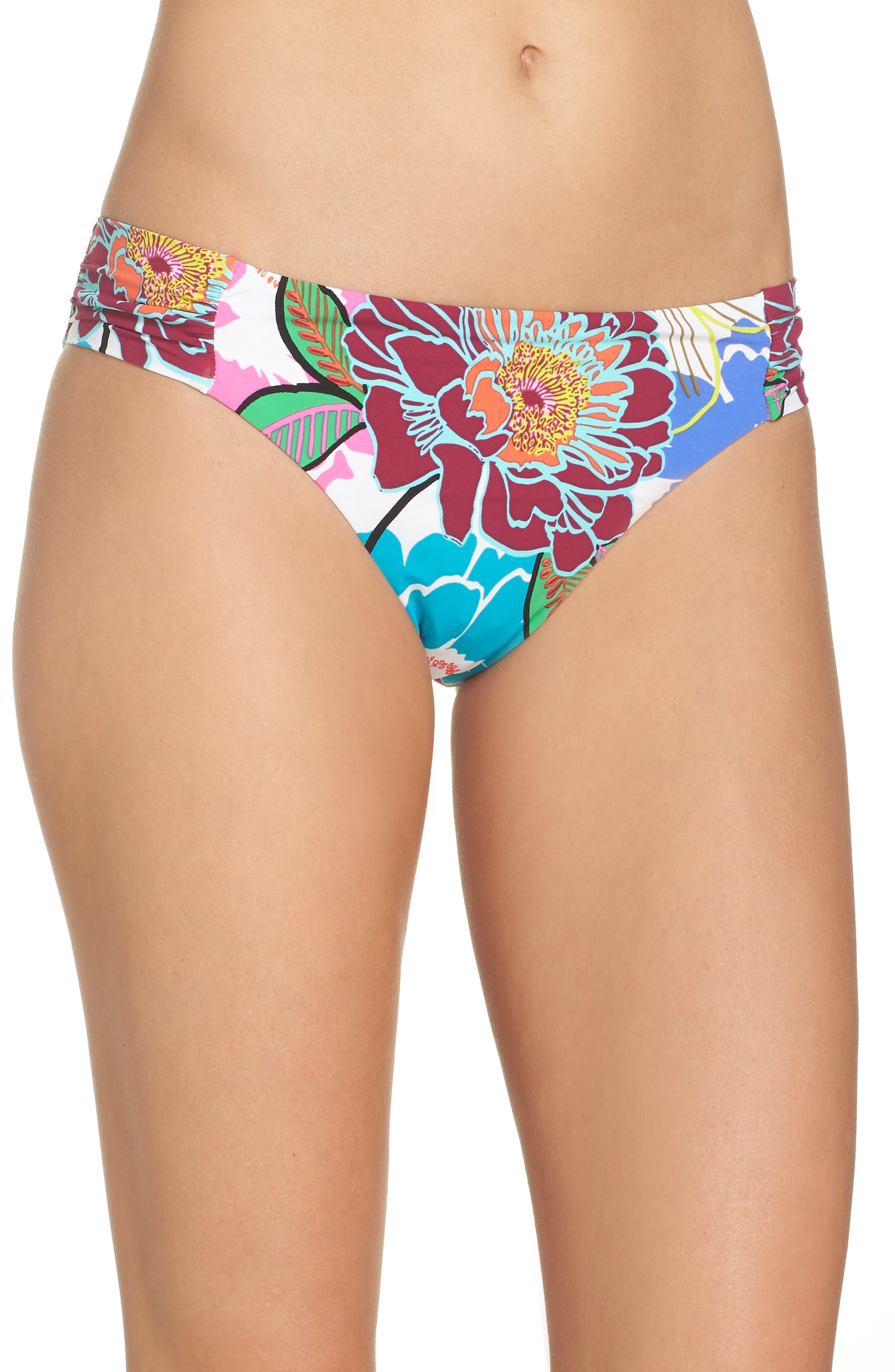 Trina Turk Shirred Hipster Bikini Bottoms