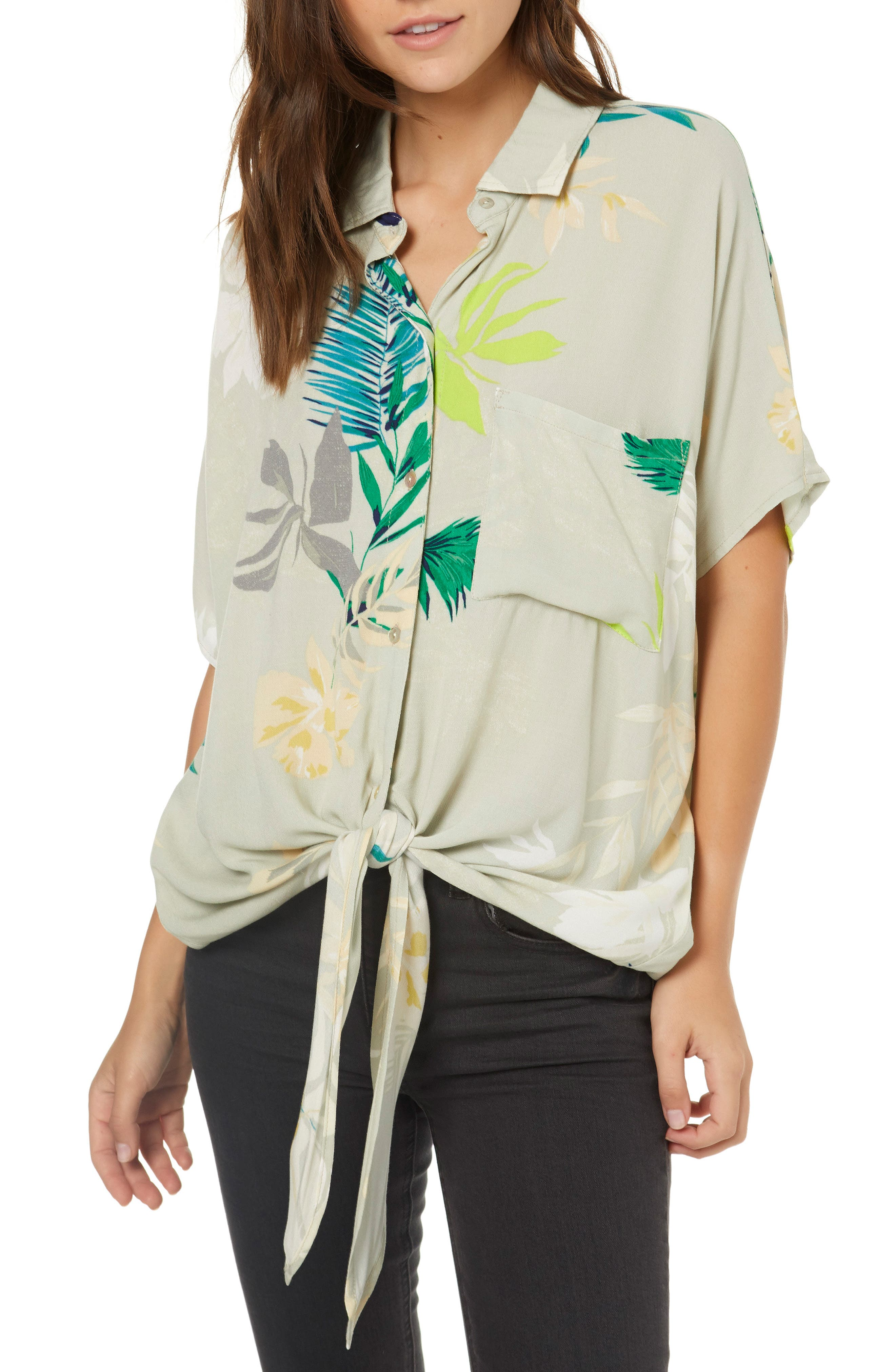 Moore Print Tie Front Shirt,                         Main,                         color, 020