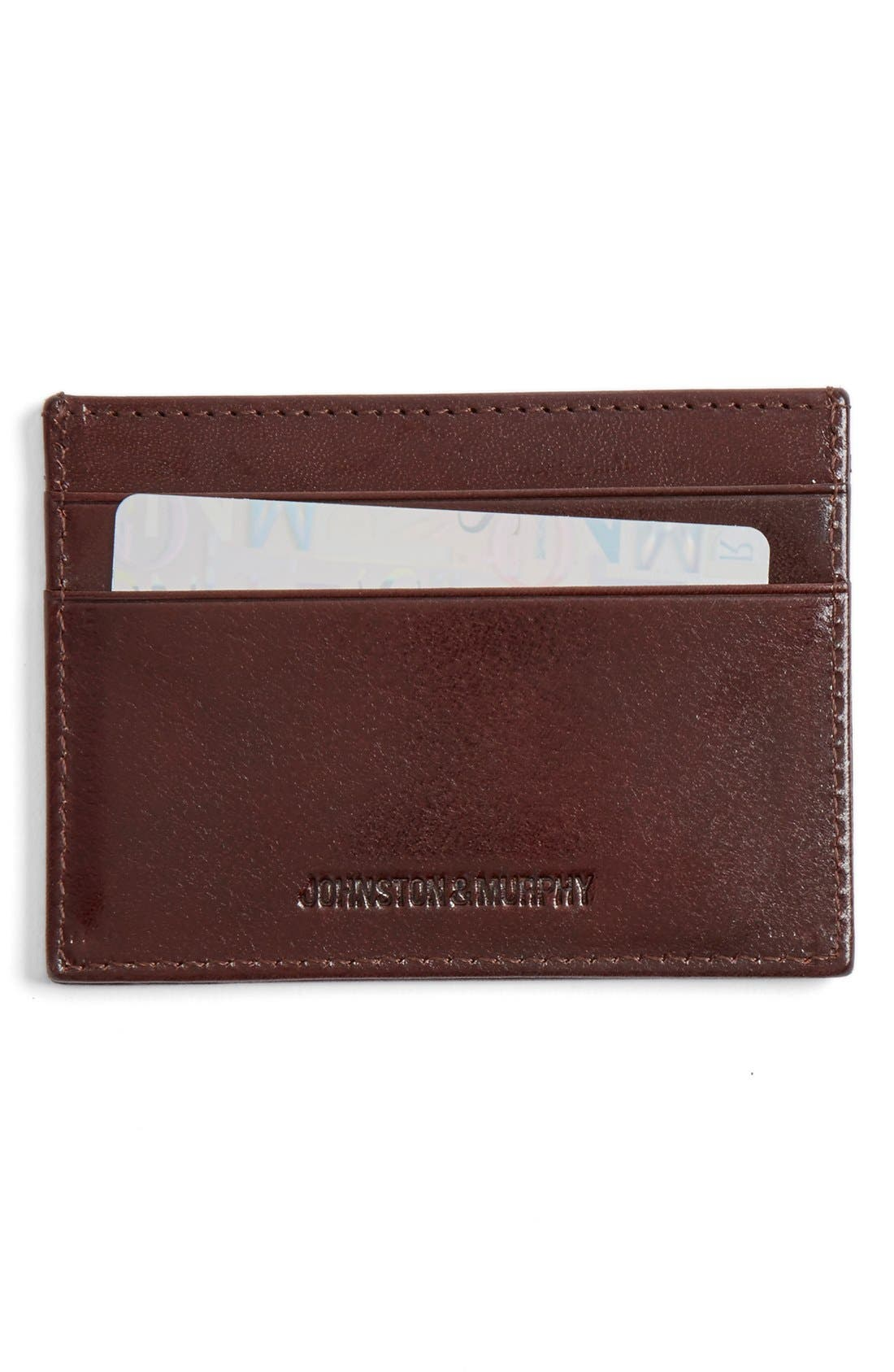 Leather Card Case,                         Main,                         color, MAHOGANY