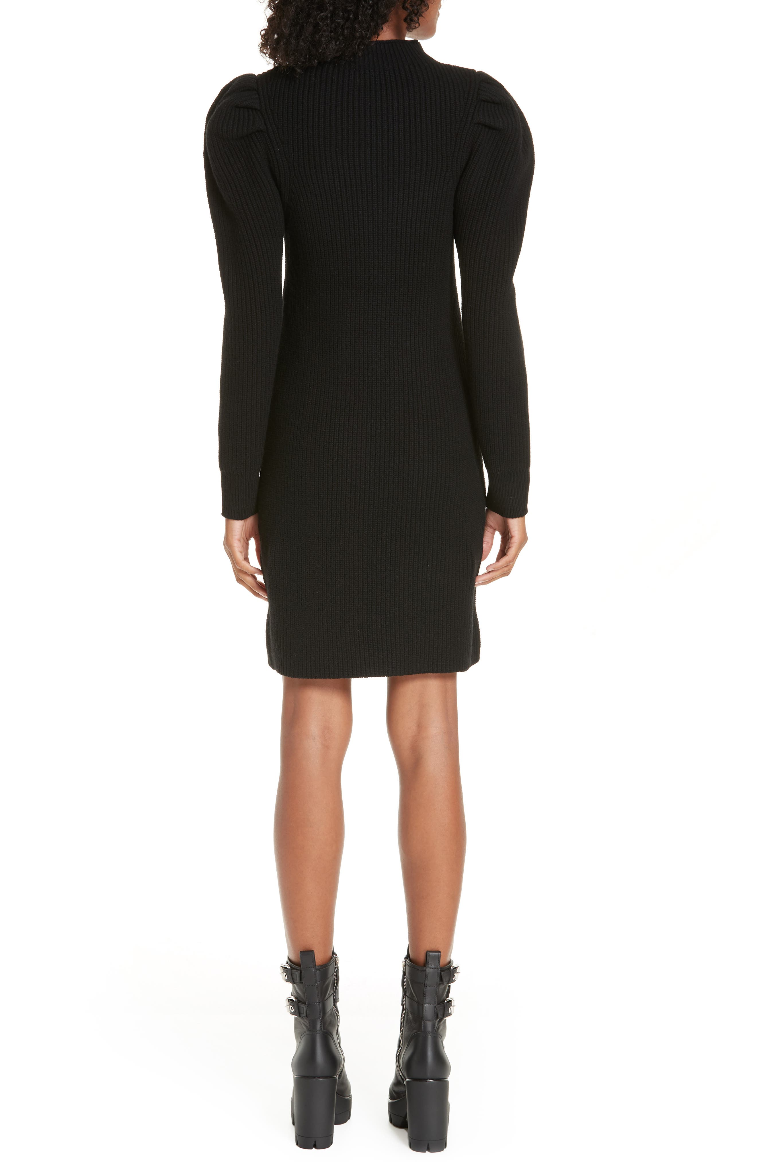 Ribbed Sweater Dress,                             Alternate thumbnail 2, color,                             001