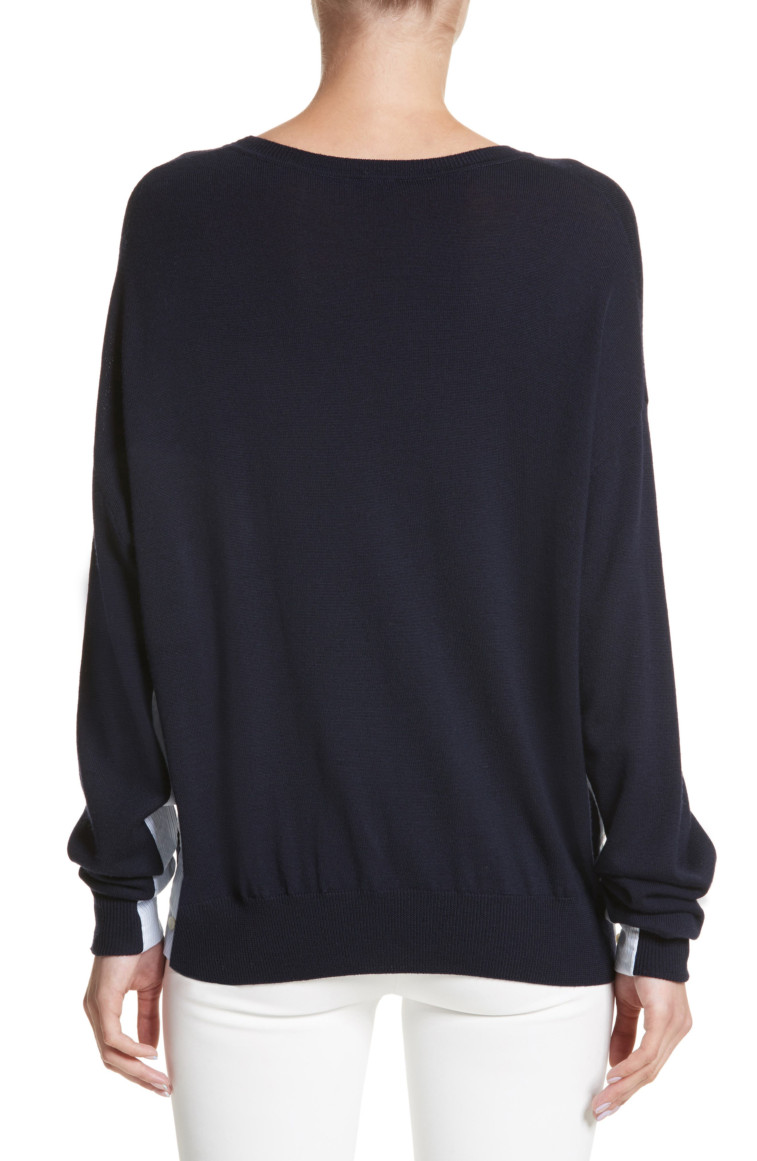 Cotton Gusset Merino Wool Sweater,                             Alternate thumbnail 2, color,