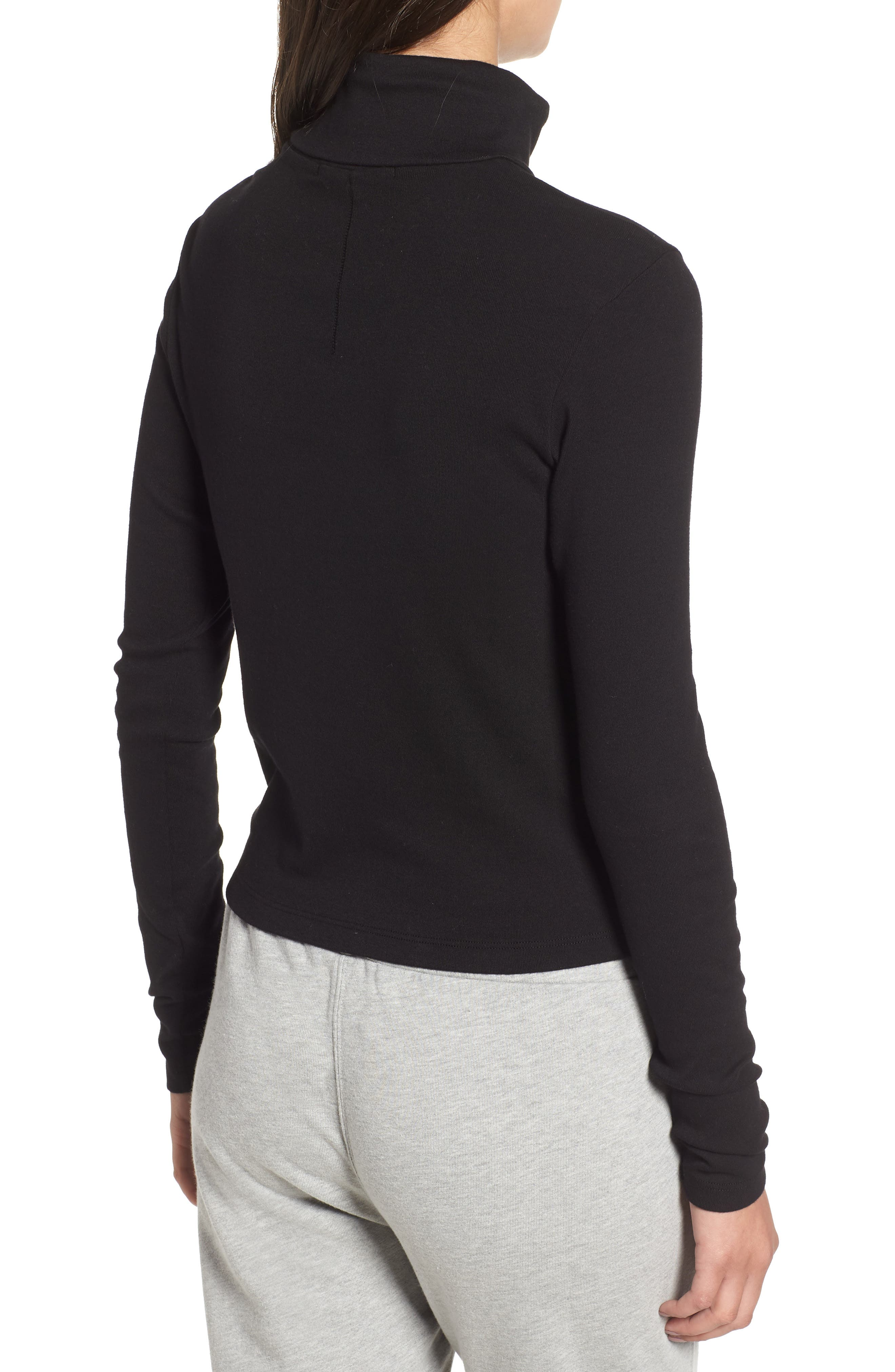 Turtleneck Stretch Cotton Crop Top,                             Alternate thumbnail 2, color,                             001