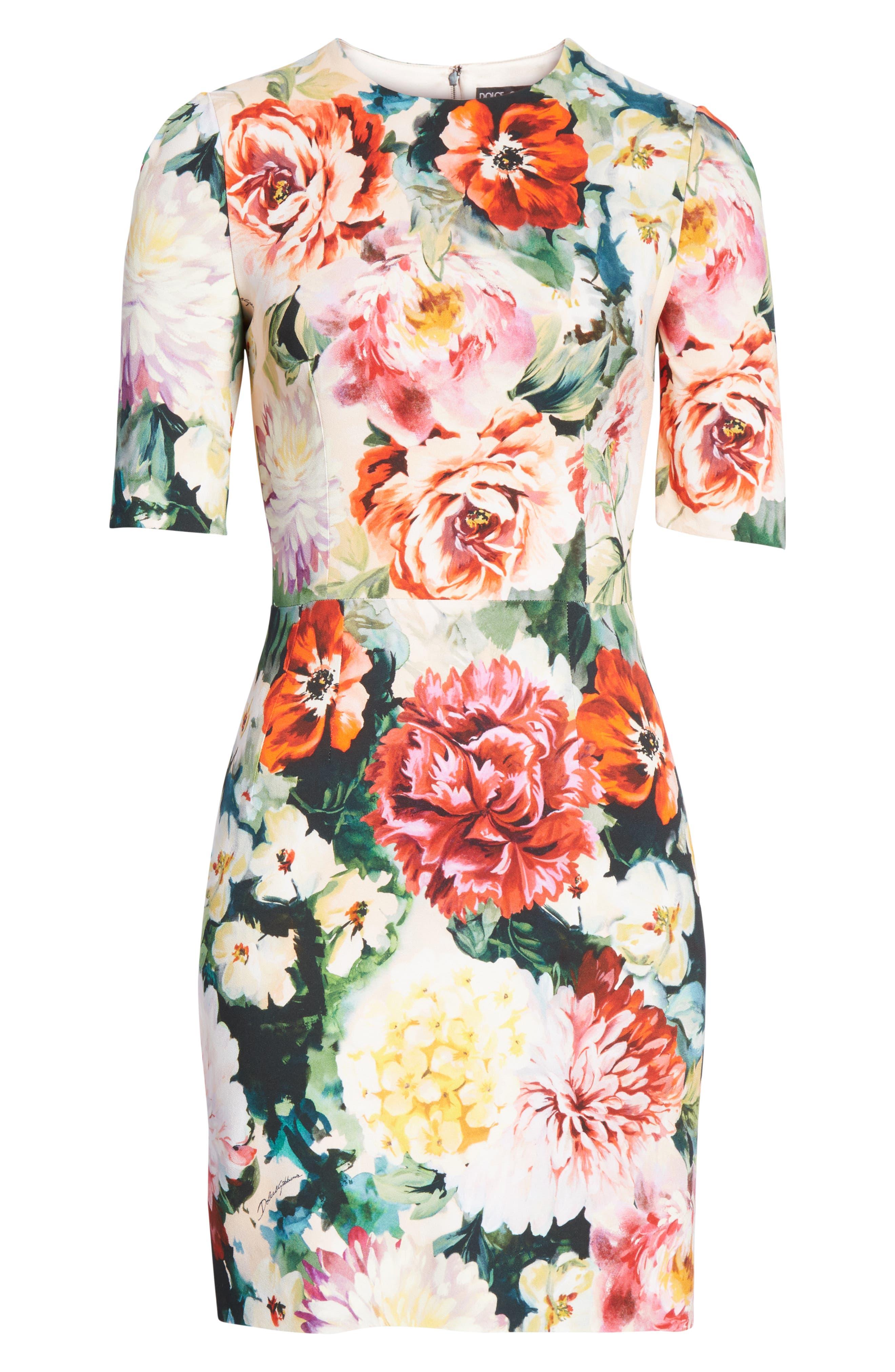 Floral Print Cady Dress,                             Alternate thumbnail 7, color,                             PINK FLORAL