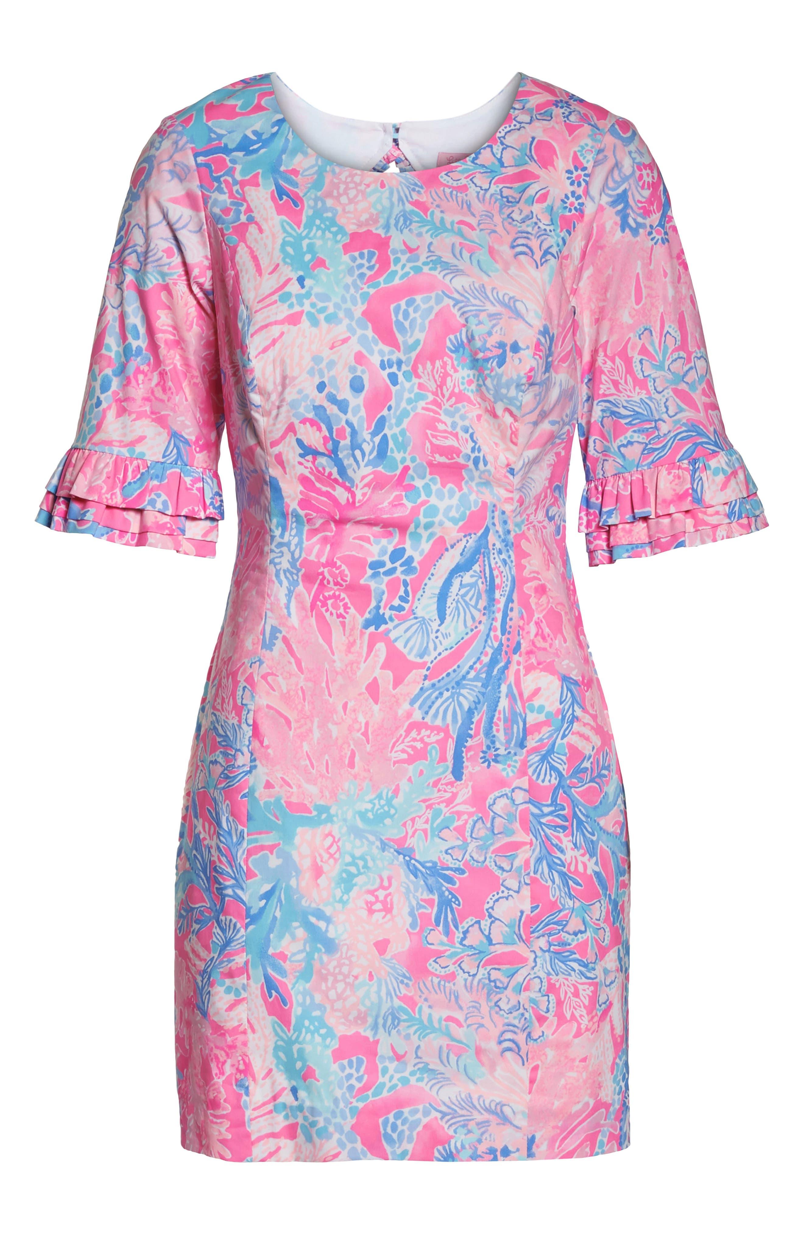 Fiesta Stretch Sheath Dress,                             Alternate thumbnail 7, color,                             LIGHT PASCHA PINK AQUADESIAC