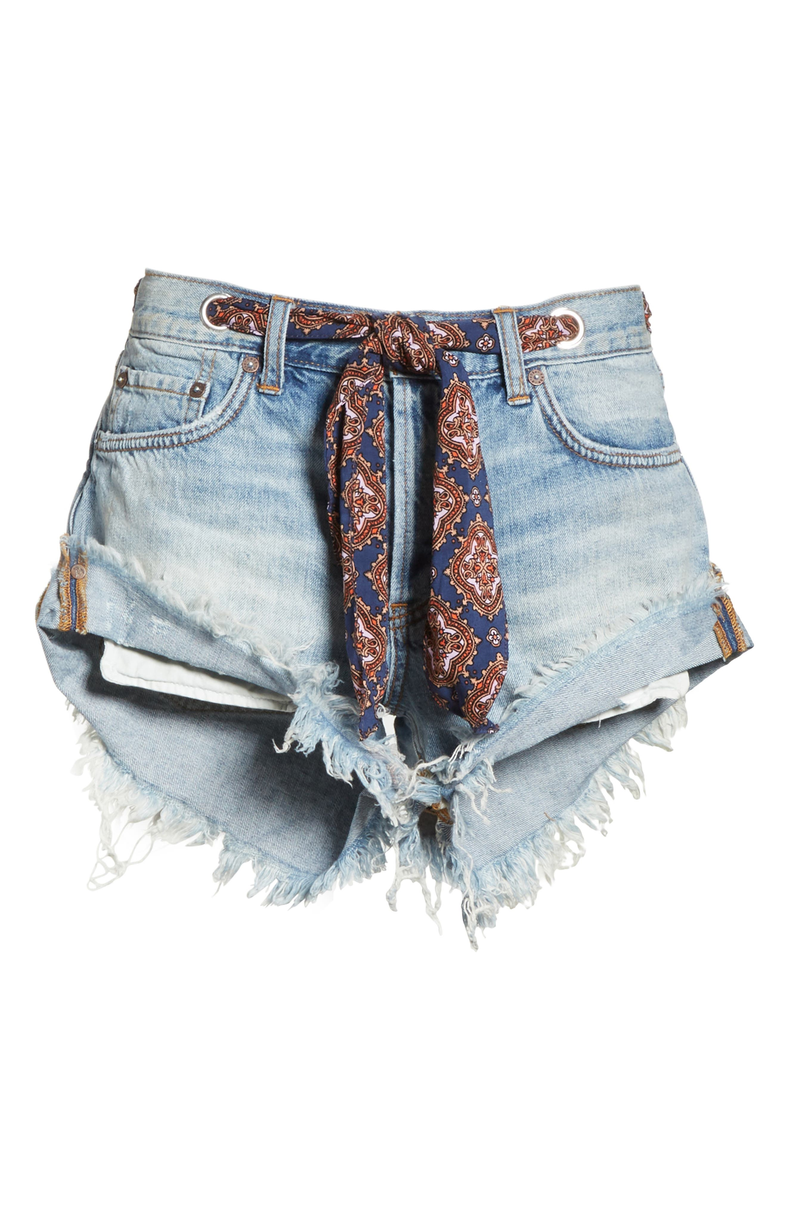 We the Free by Free People Sashed & Relaxed Cutoff Denim Shorts,                             Alternate thumbnail 7, color,                             400
