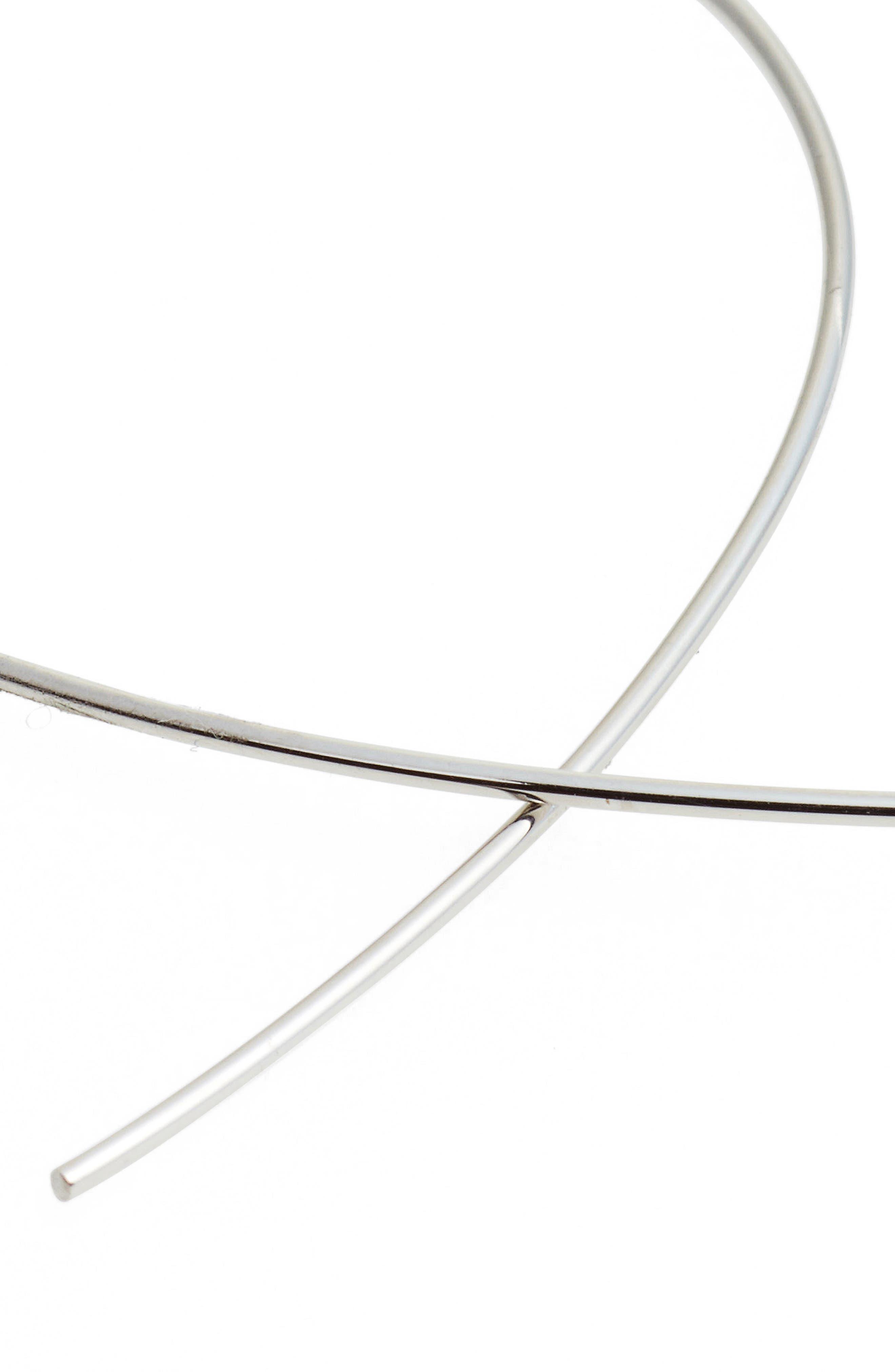 'Upside Down' Small Hoop Earrings,                             Alternate thumbnail 4, color,                             WHITE GOLD