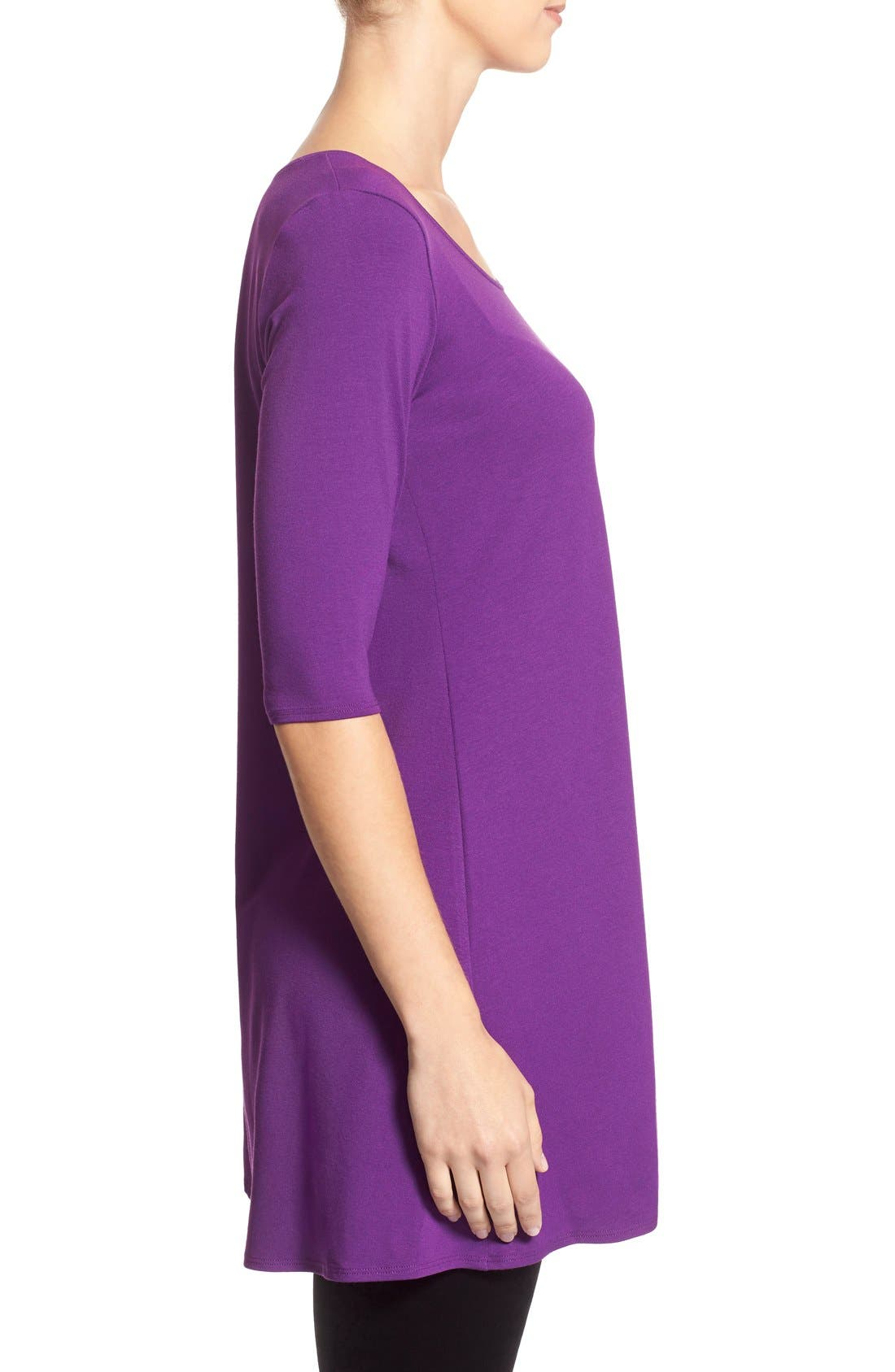 Scoop Neck Elbow Sleeve Jersey Tunic,                             Alternate thumbnail 72, color,