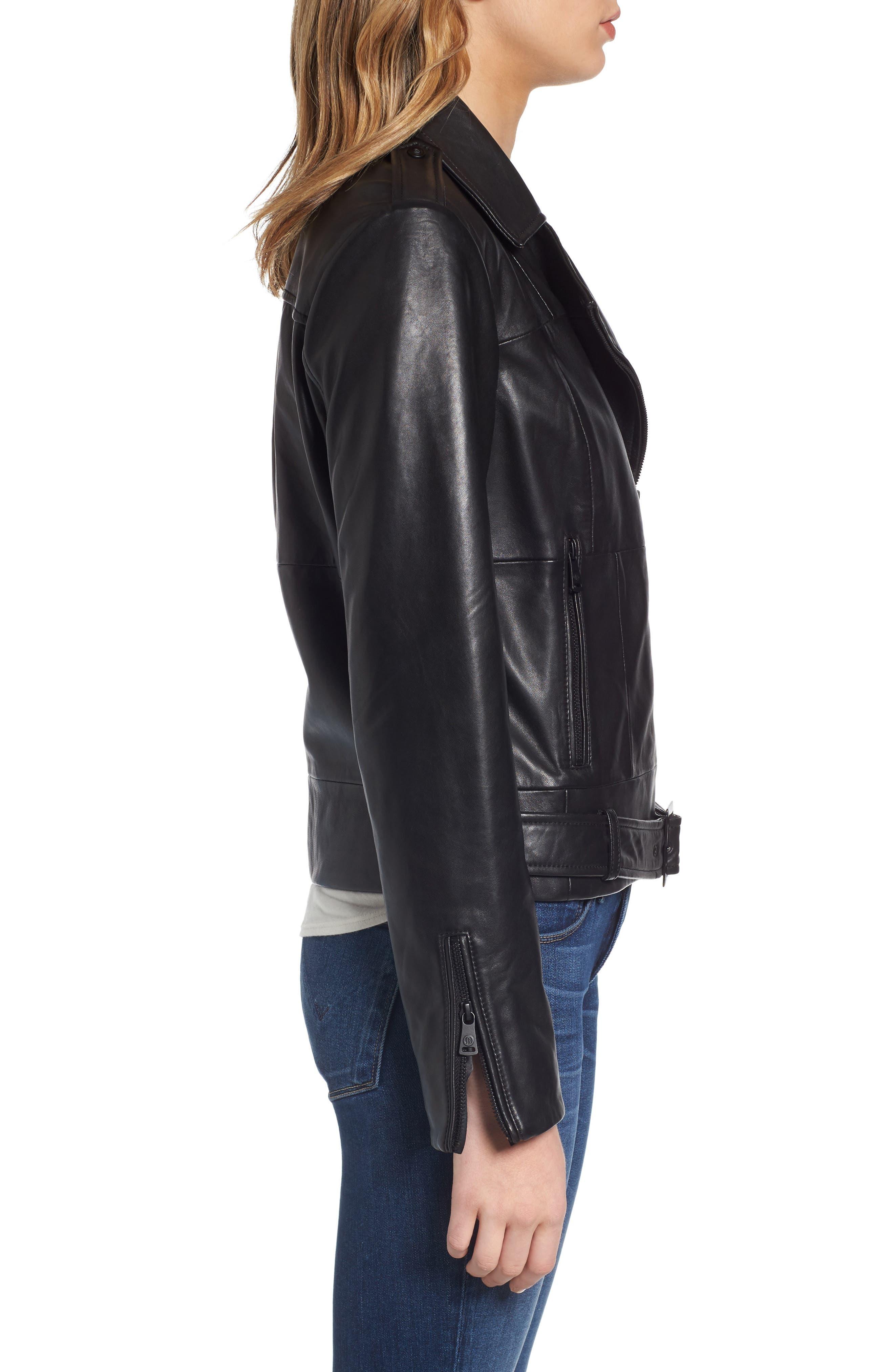 Belted Leather Moto Jacket,                             Alternate thumbnail 3, color,