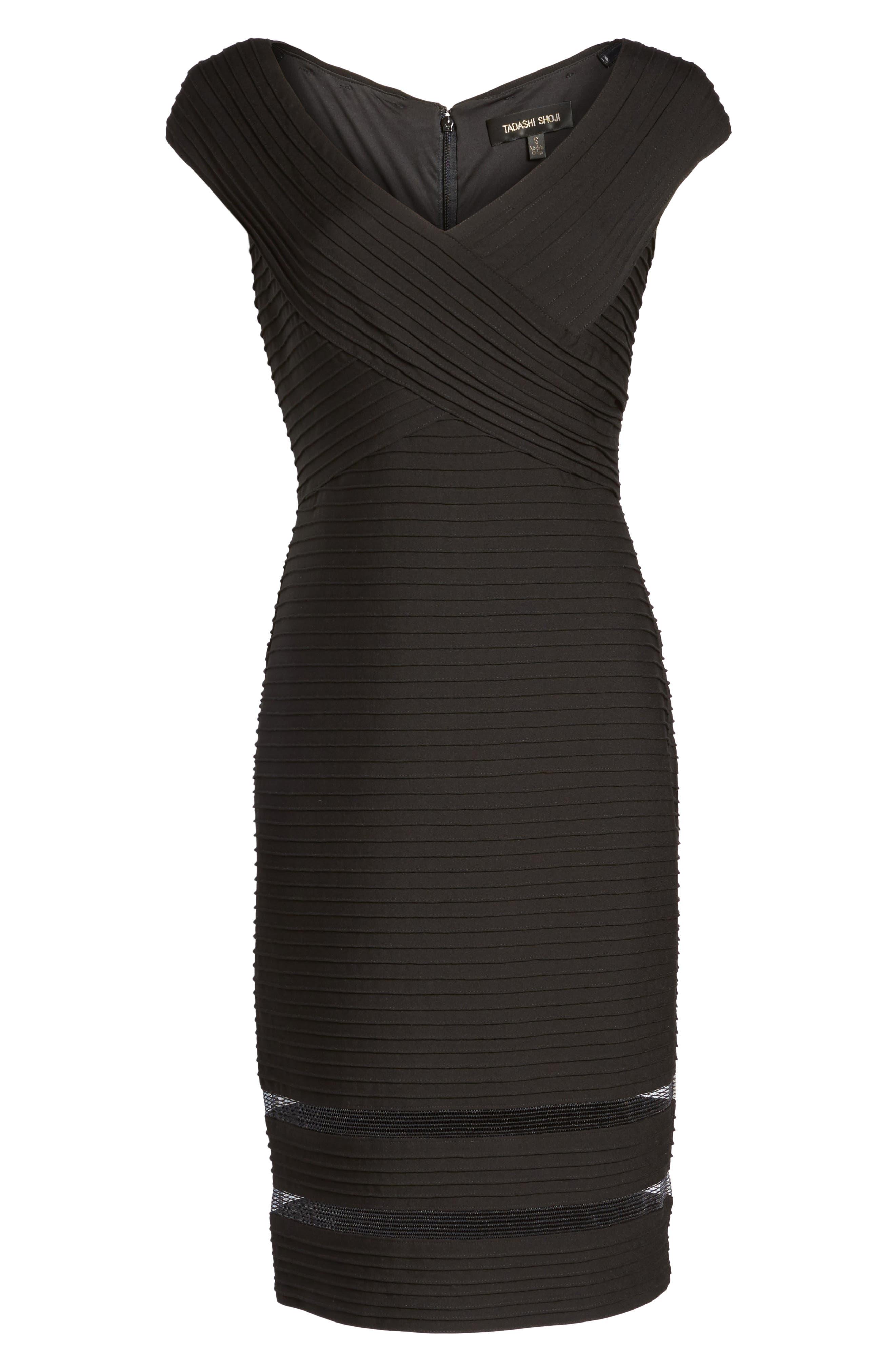 Mixed Media Sheath Dress,                             Alternate thumbnail 7, color,                             001