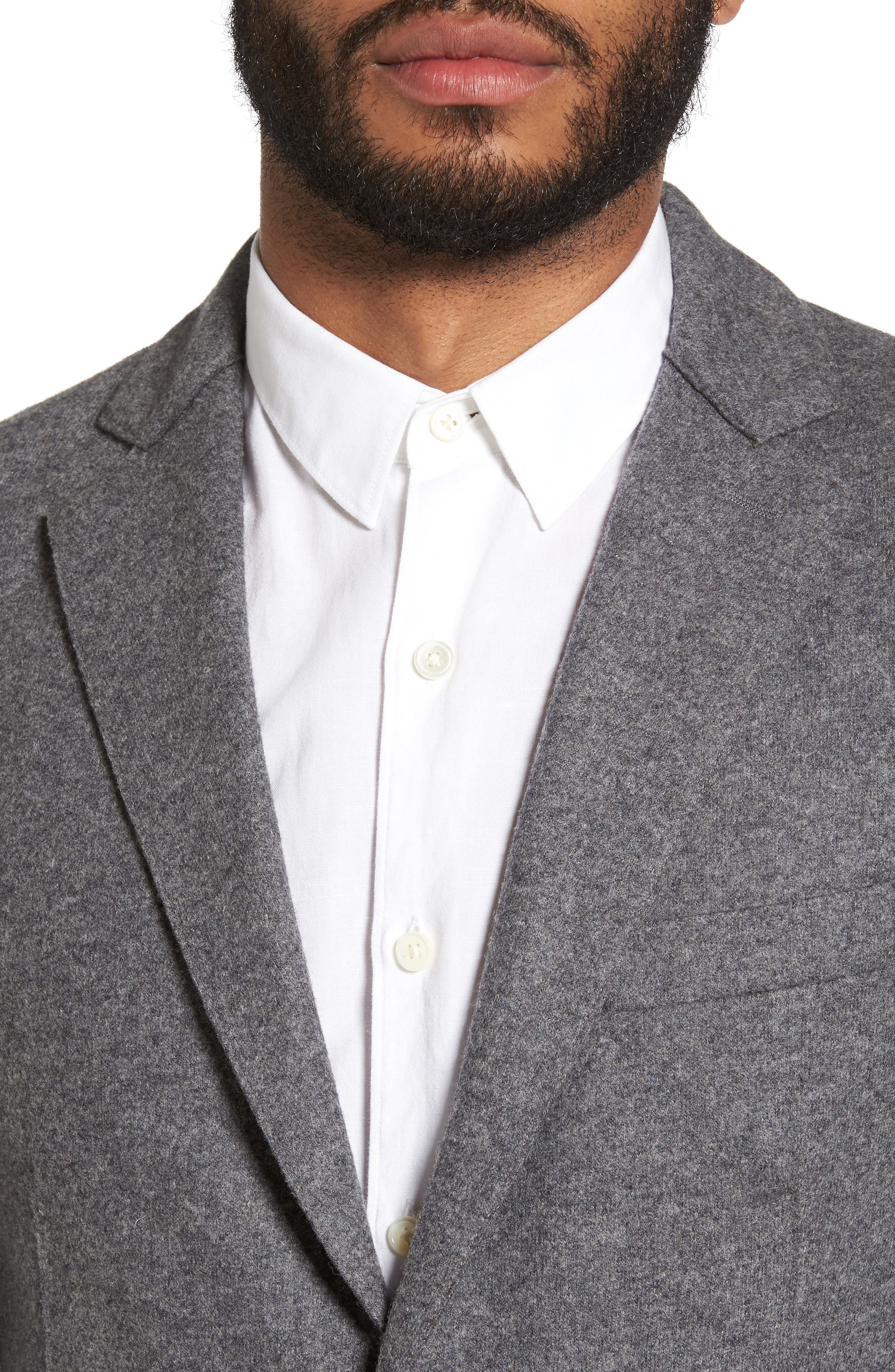 Wool Blend Blazer,                             Alternate thumbnail 4, color,                             SMOKE GREY MELANGE