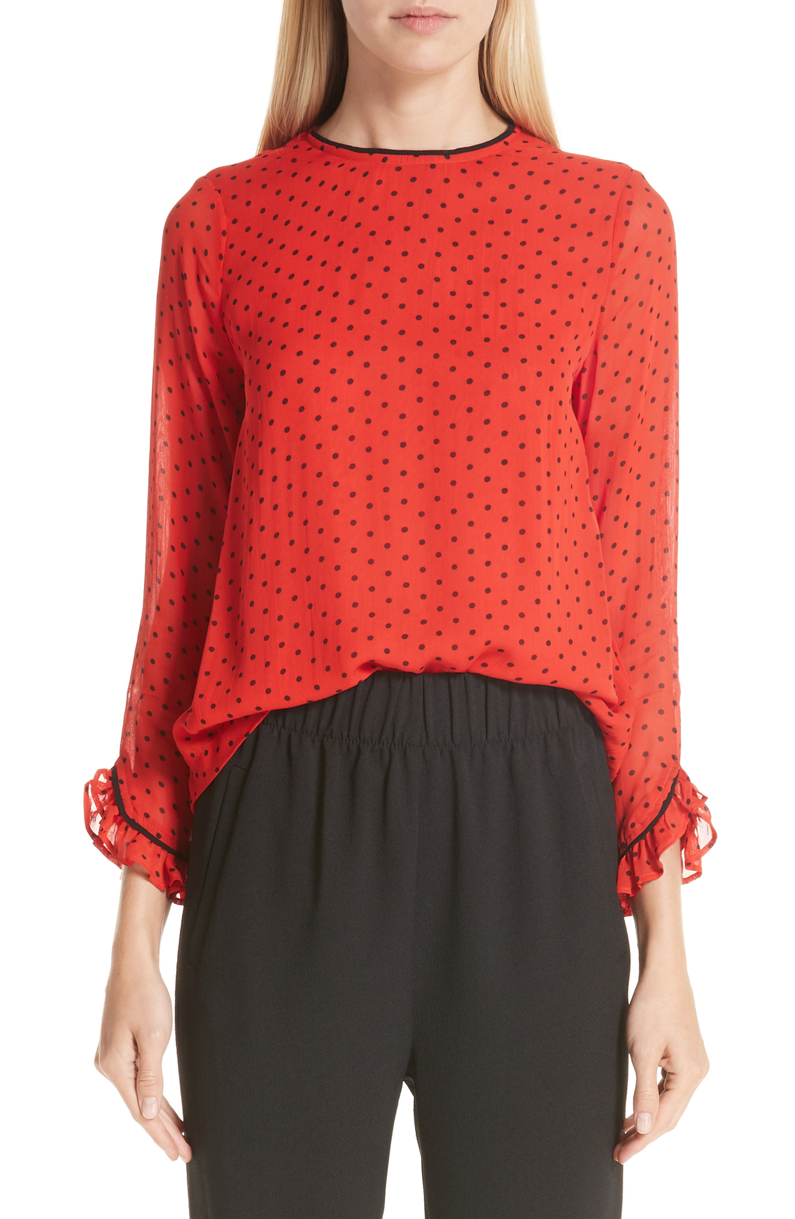 Mullin Print Georgette Blouse,                         Main,                         color, FIERY RED 403