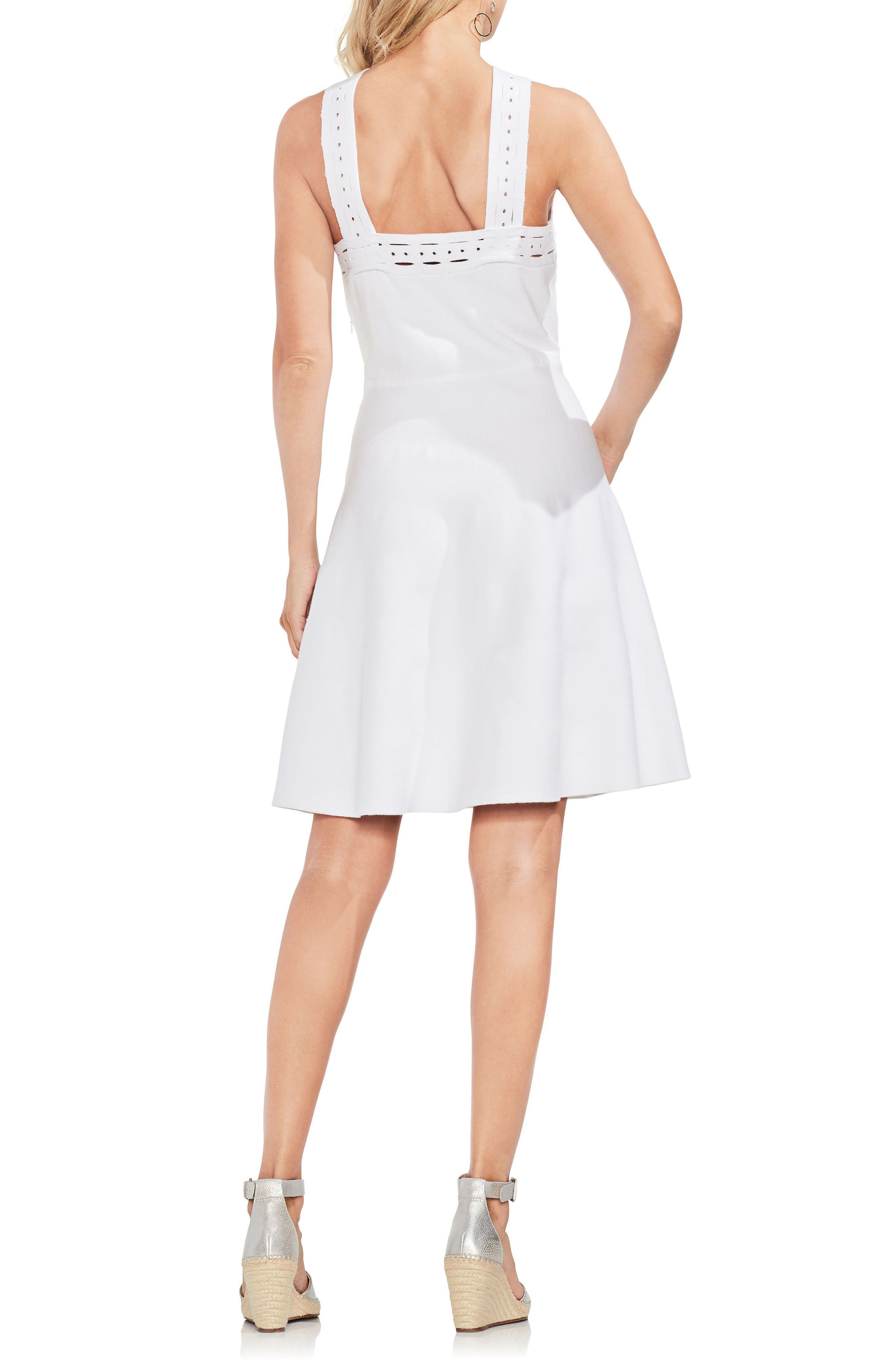 Crisscross Fit & Flare Sweater Dress,                             Alternate thumbnail 4, color,