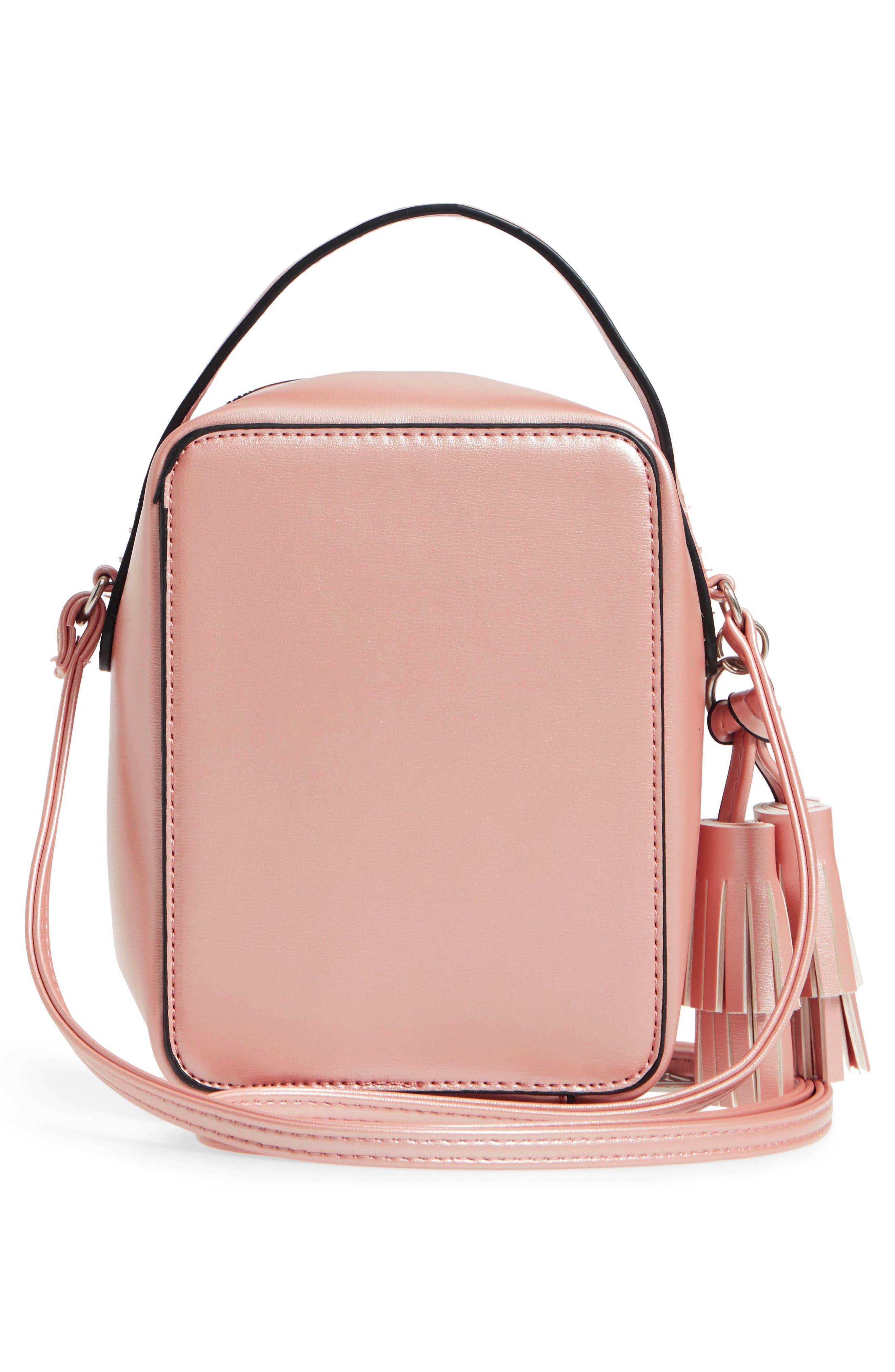 Tassel Metallic Faux Leather Box Bag,                             Alternate thumbnail 3, color,                             710