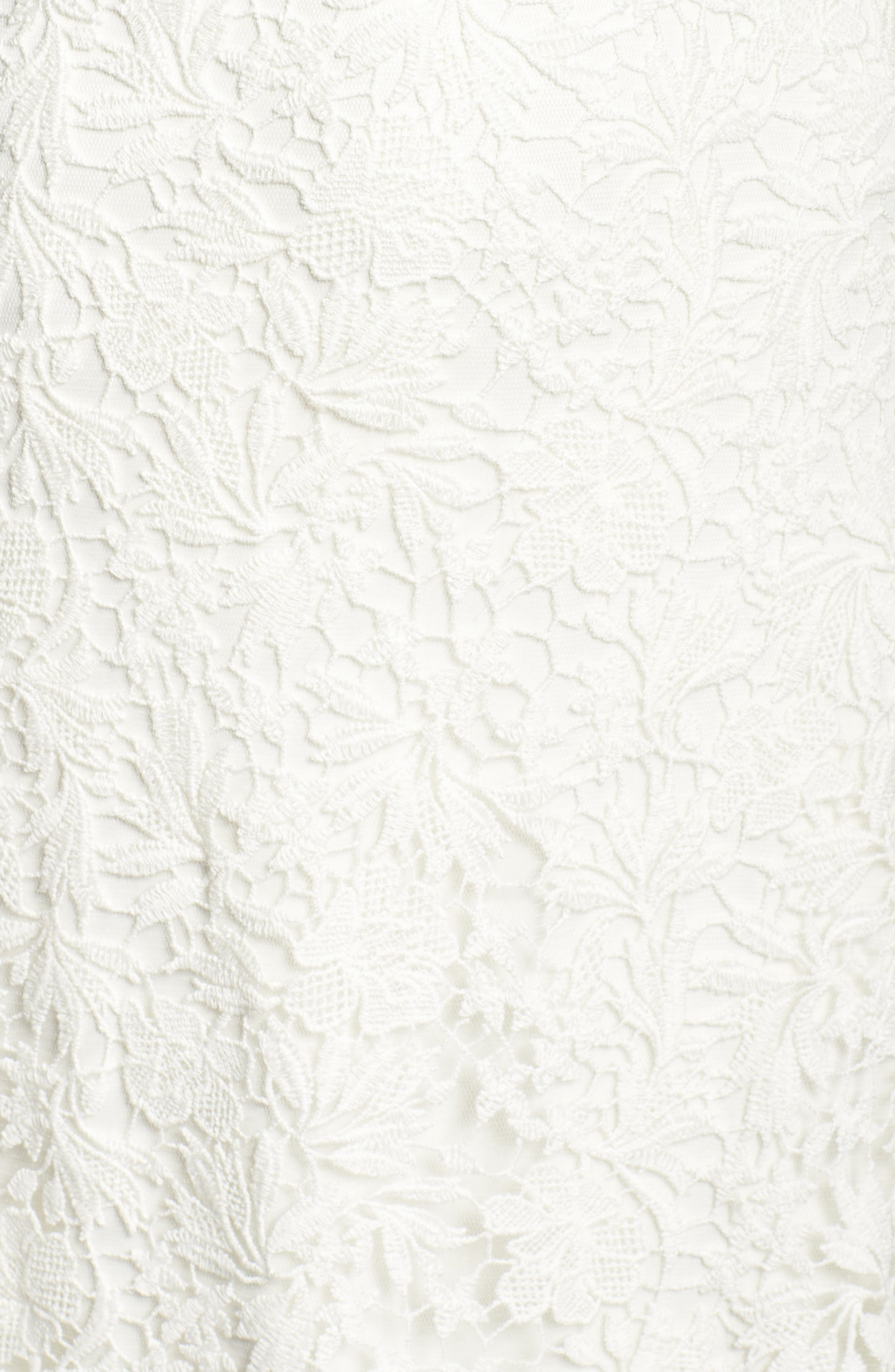 Pleat Back Lace Gown,                             Alternate thumbnail 5, color,                             IVORY