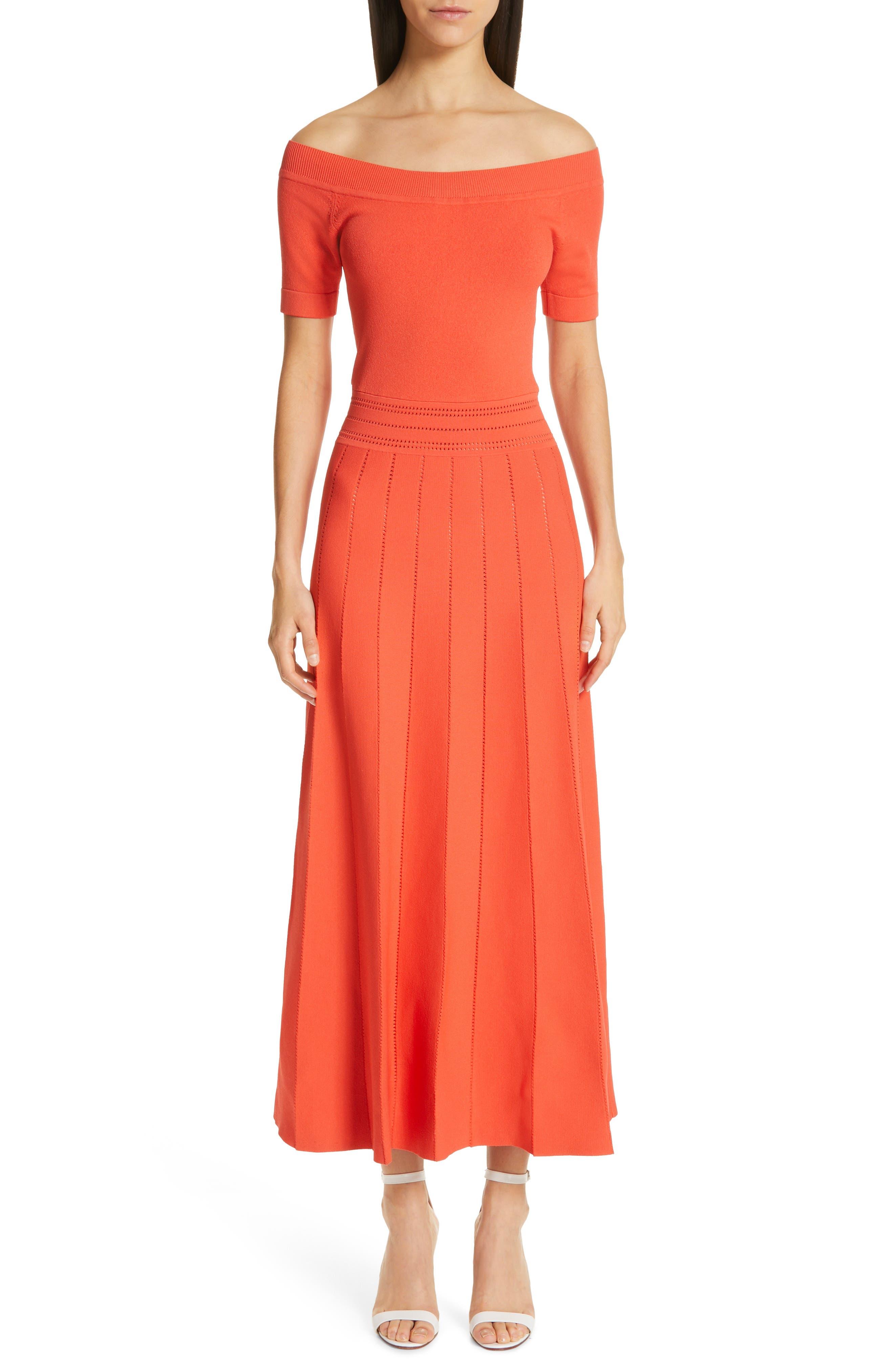Lela Rose Pointelle Knit Off The Shoulder Dress, Coral