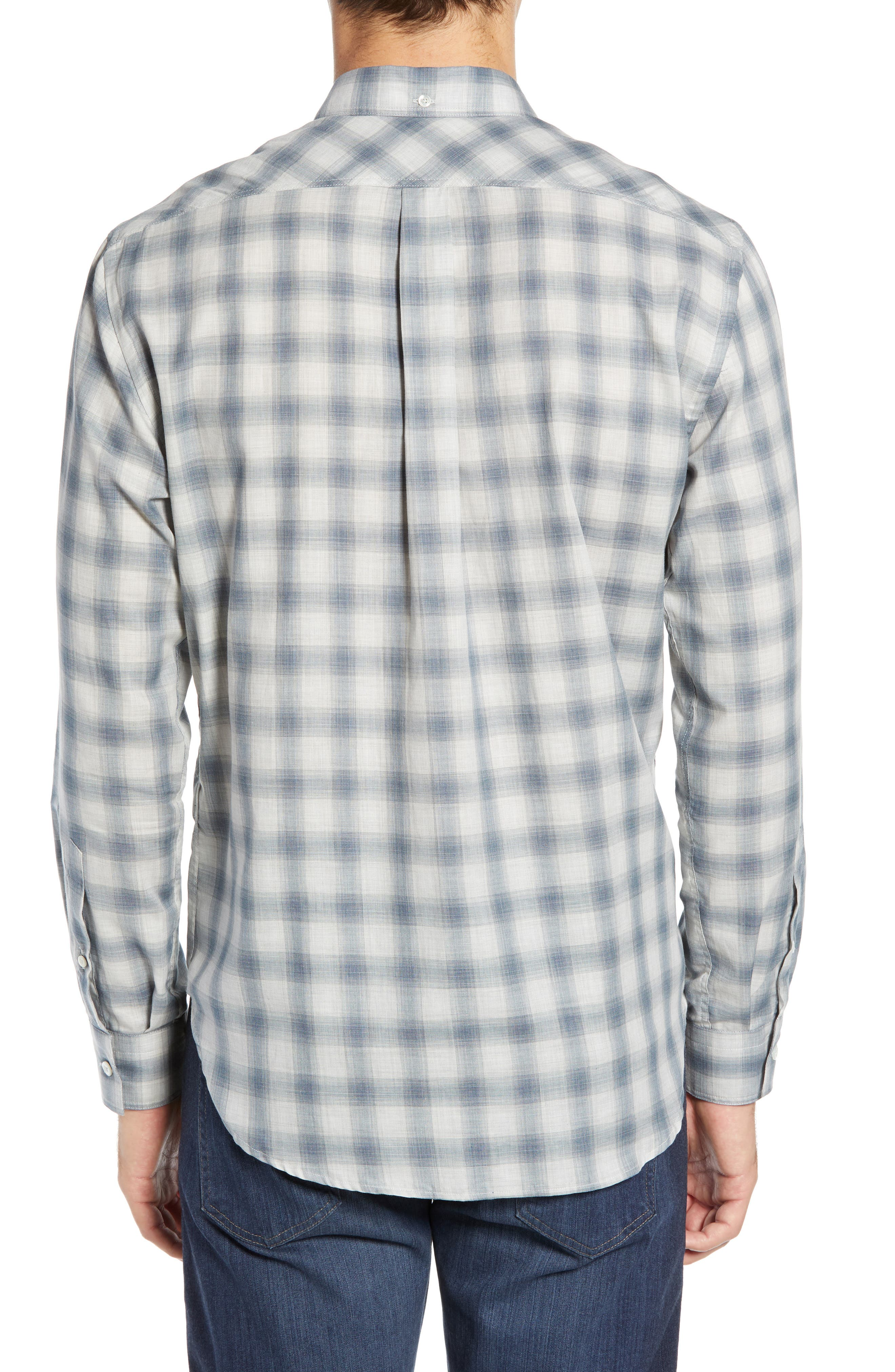 Tuscumbia Regular Fit Pattern Sport Shirt,                             Alternate thumbnail 3, color,                             BLUE/ GREY