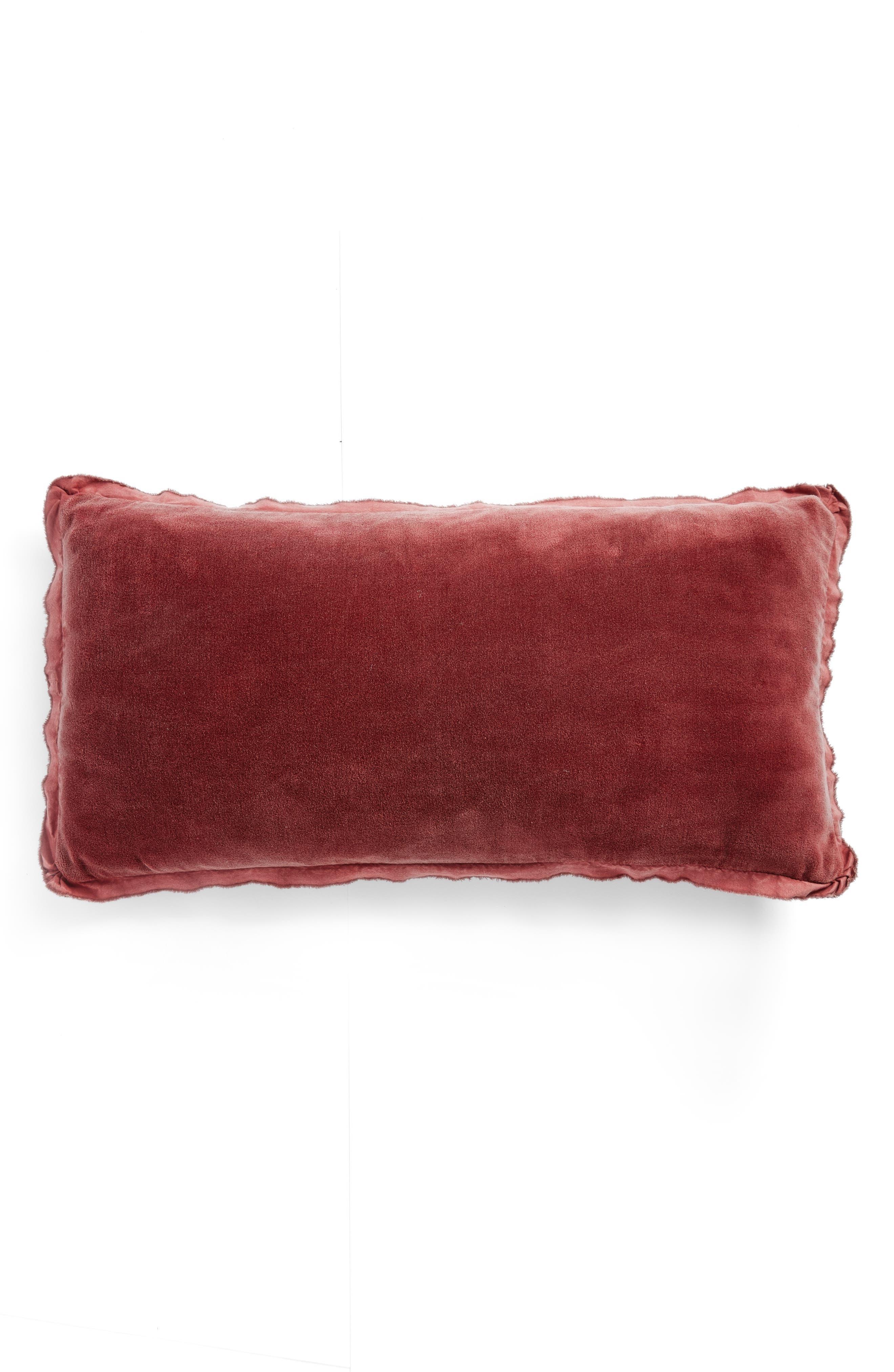 Velvet Accent Pillow,                         Main,                         color, BROWN ROSE