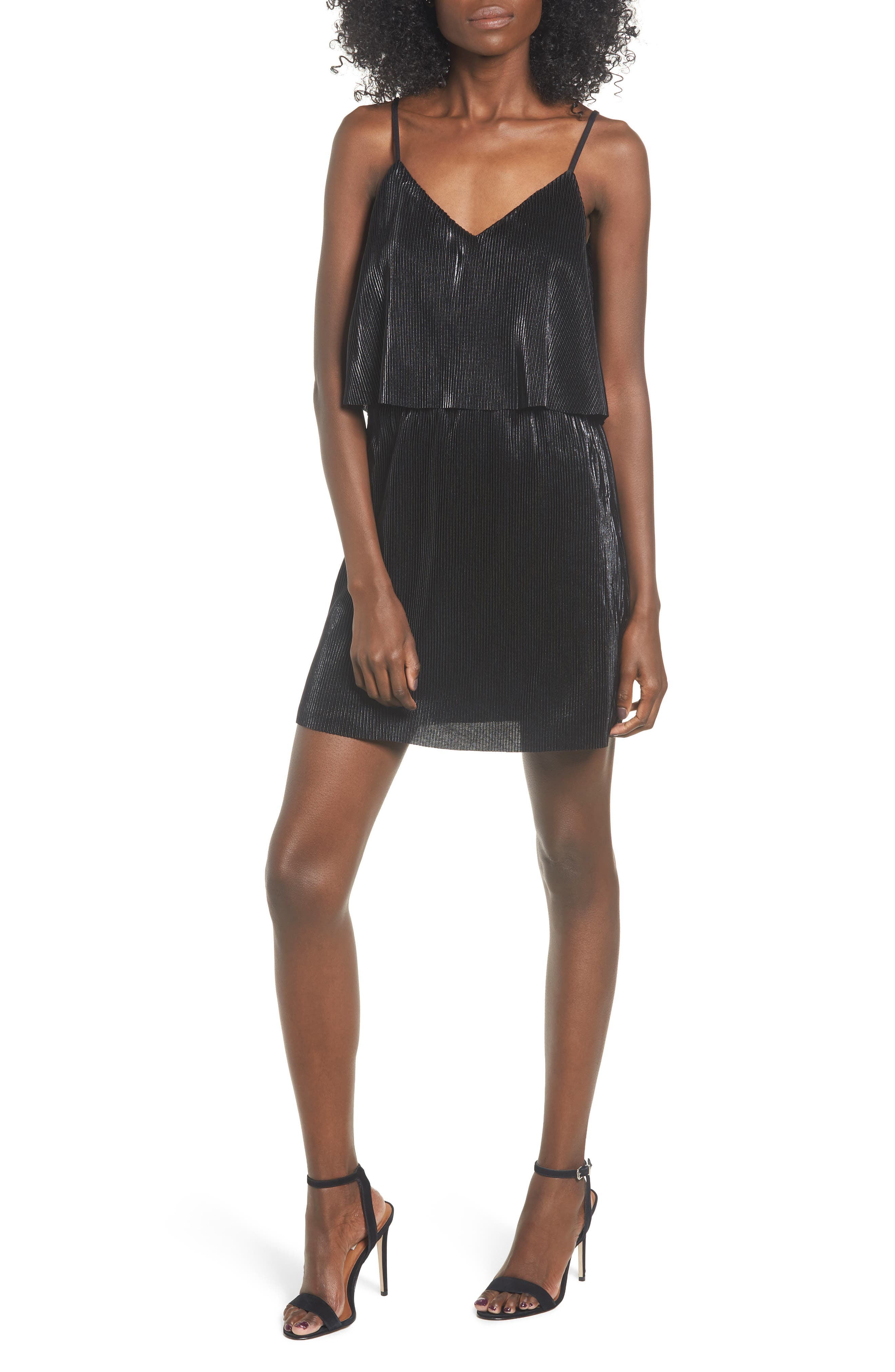 Shine On Shine On Pleated Dress,                             Main thumbnail 1, color,                             BLACK