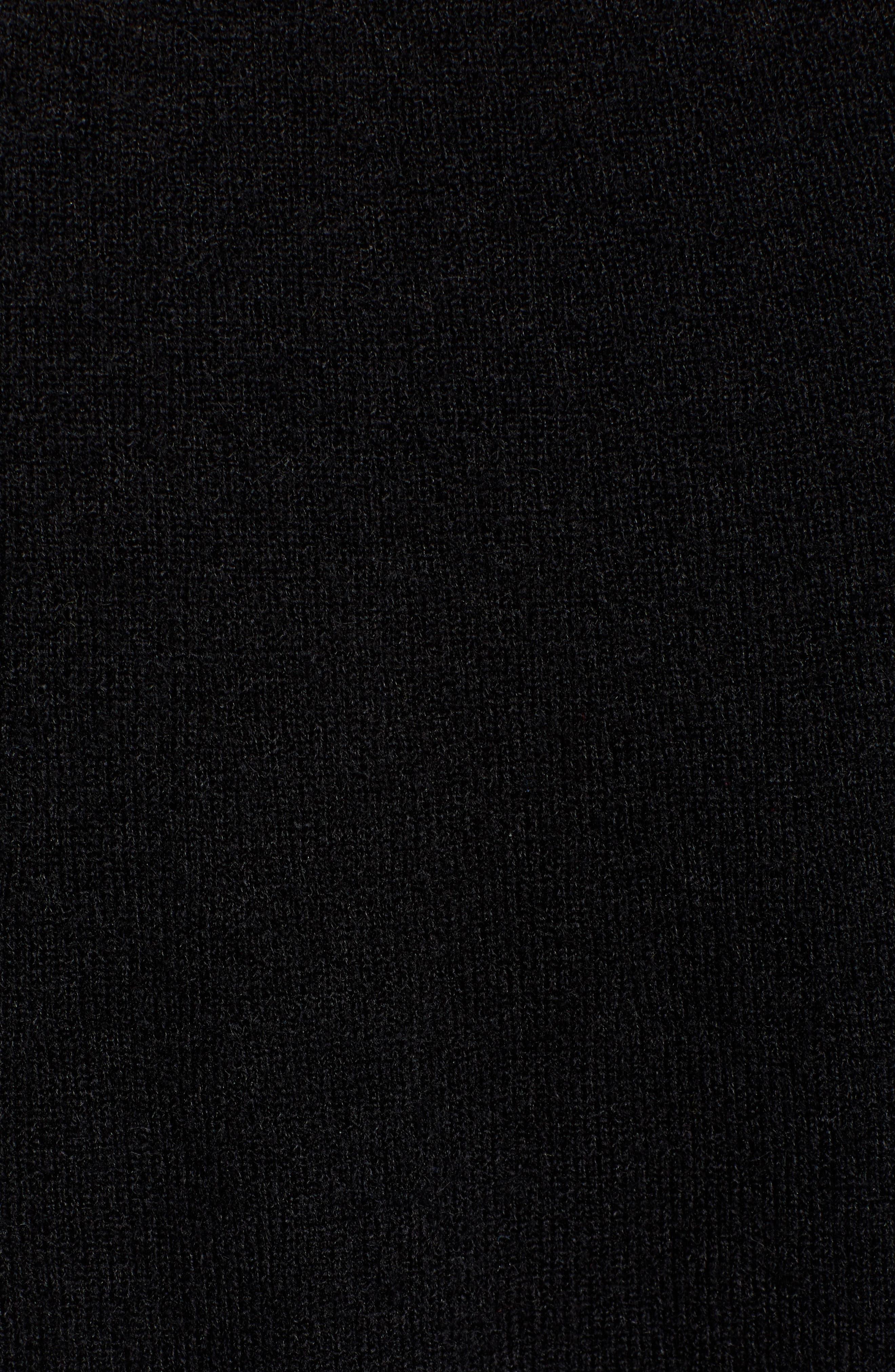 Side-Button Turtleneck Tunic Top,                             Alternate thumbnail 5, color,                             BLACK