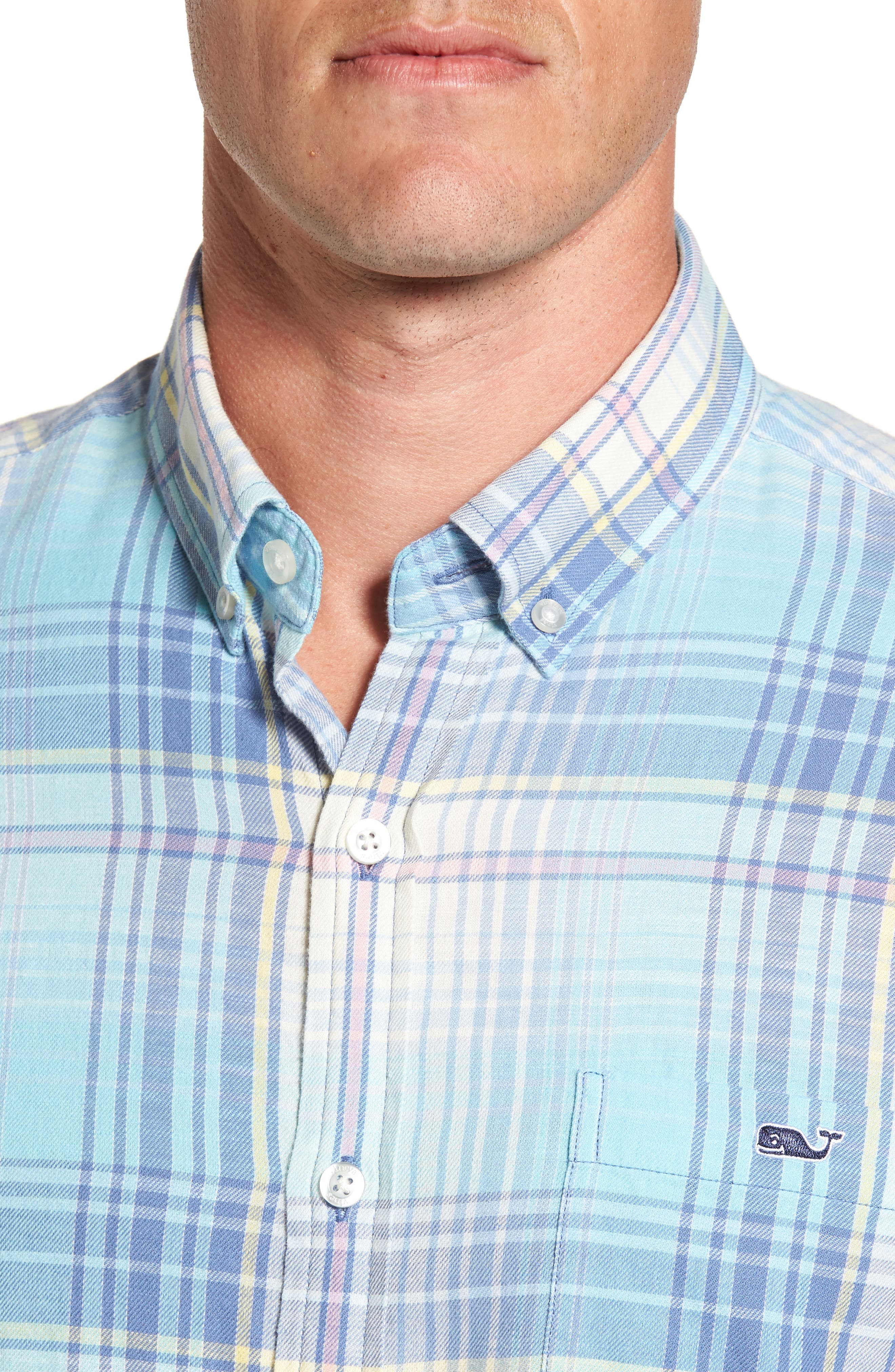 Pequot Plaid Slim Fit Tucker Sport Shirt,                             Alternate thumbnail 4, color,                             435