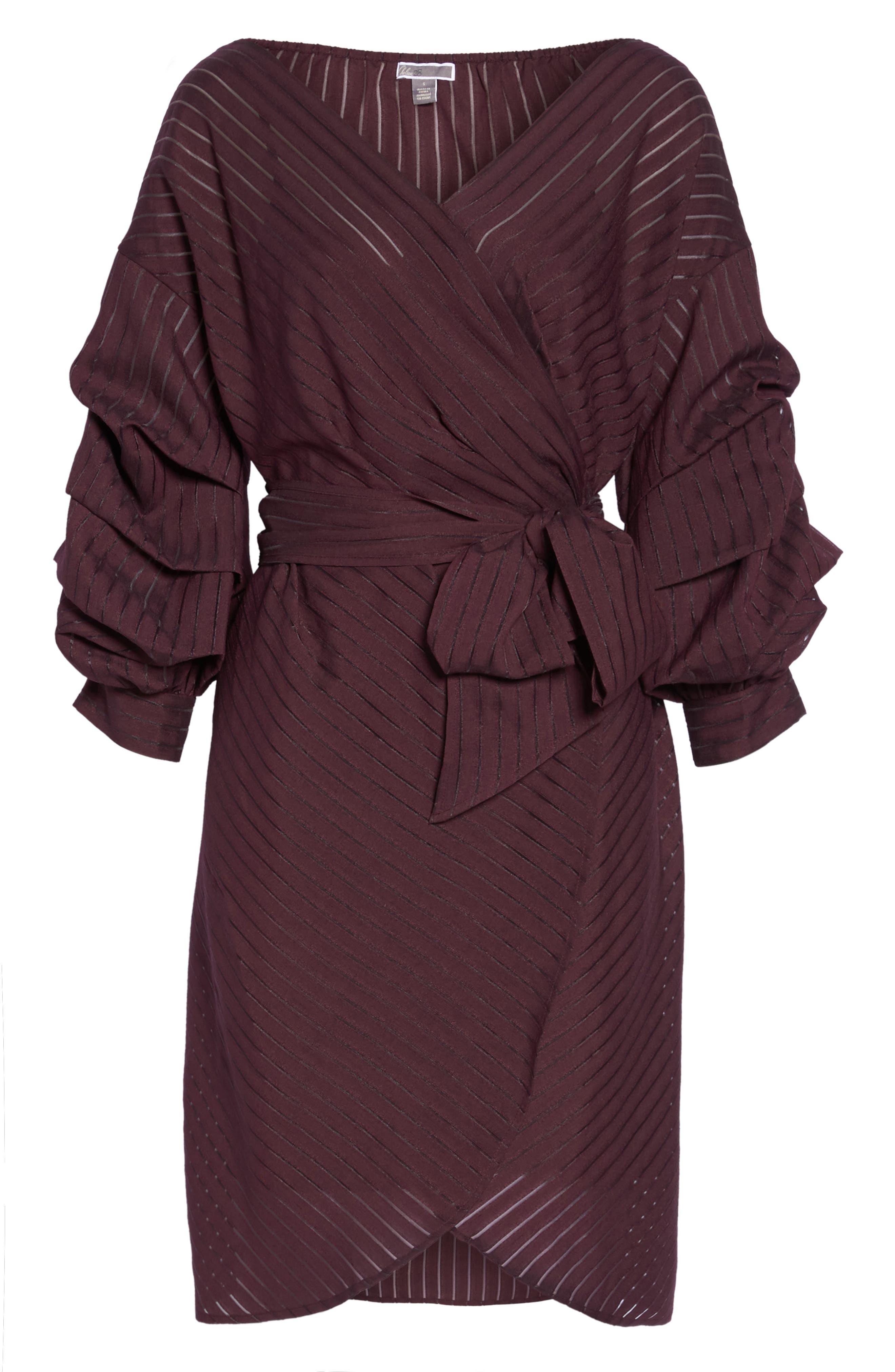 Shadow Stripe Wrap Dress,                             Alternate thumbnail 6, color,                             930
