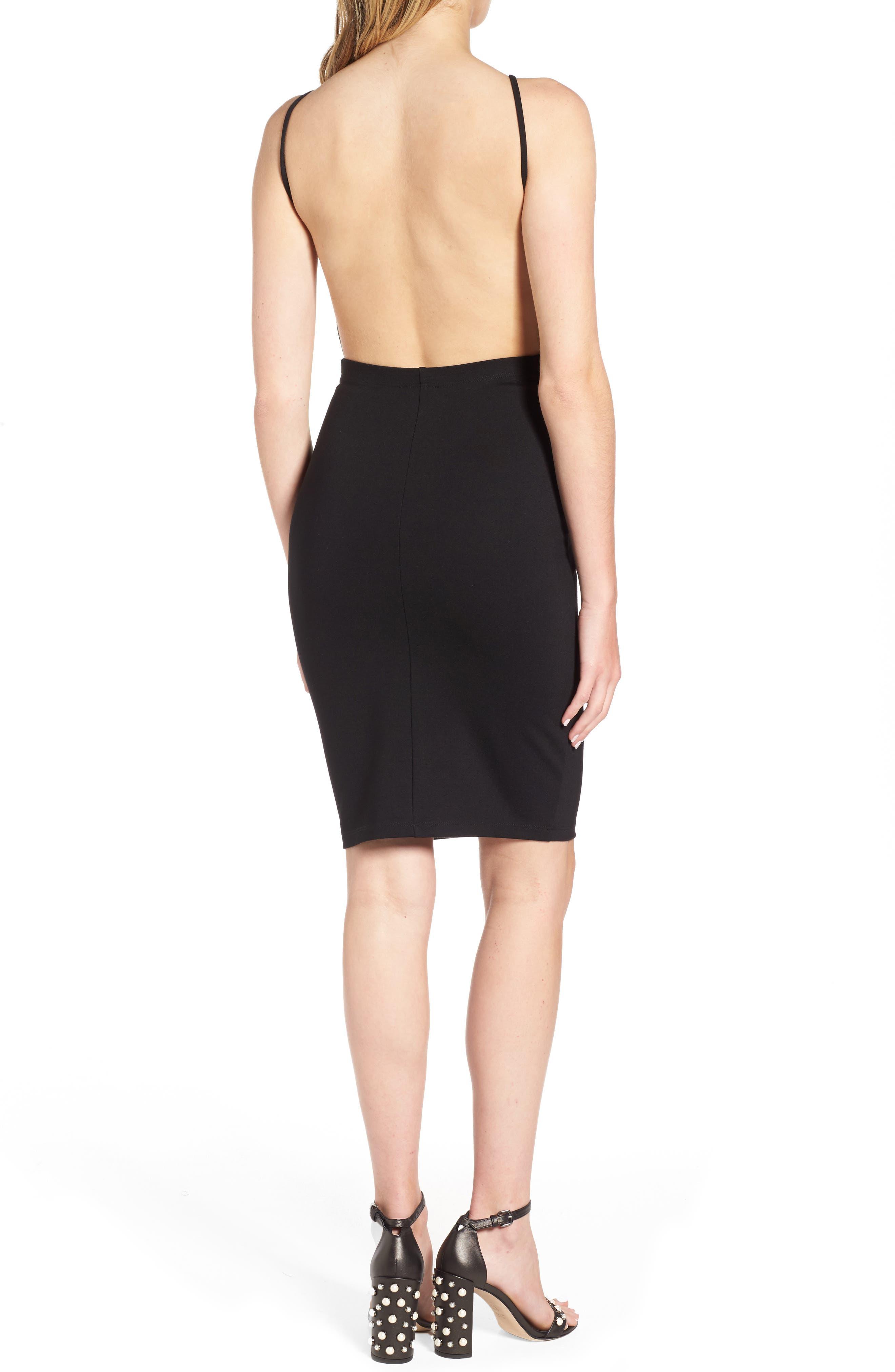 Open Back Body-Con Dress,                             Alternate thumbnail 2, color,                             001