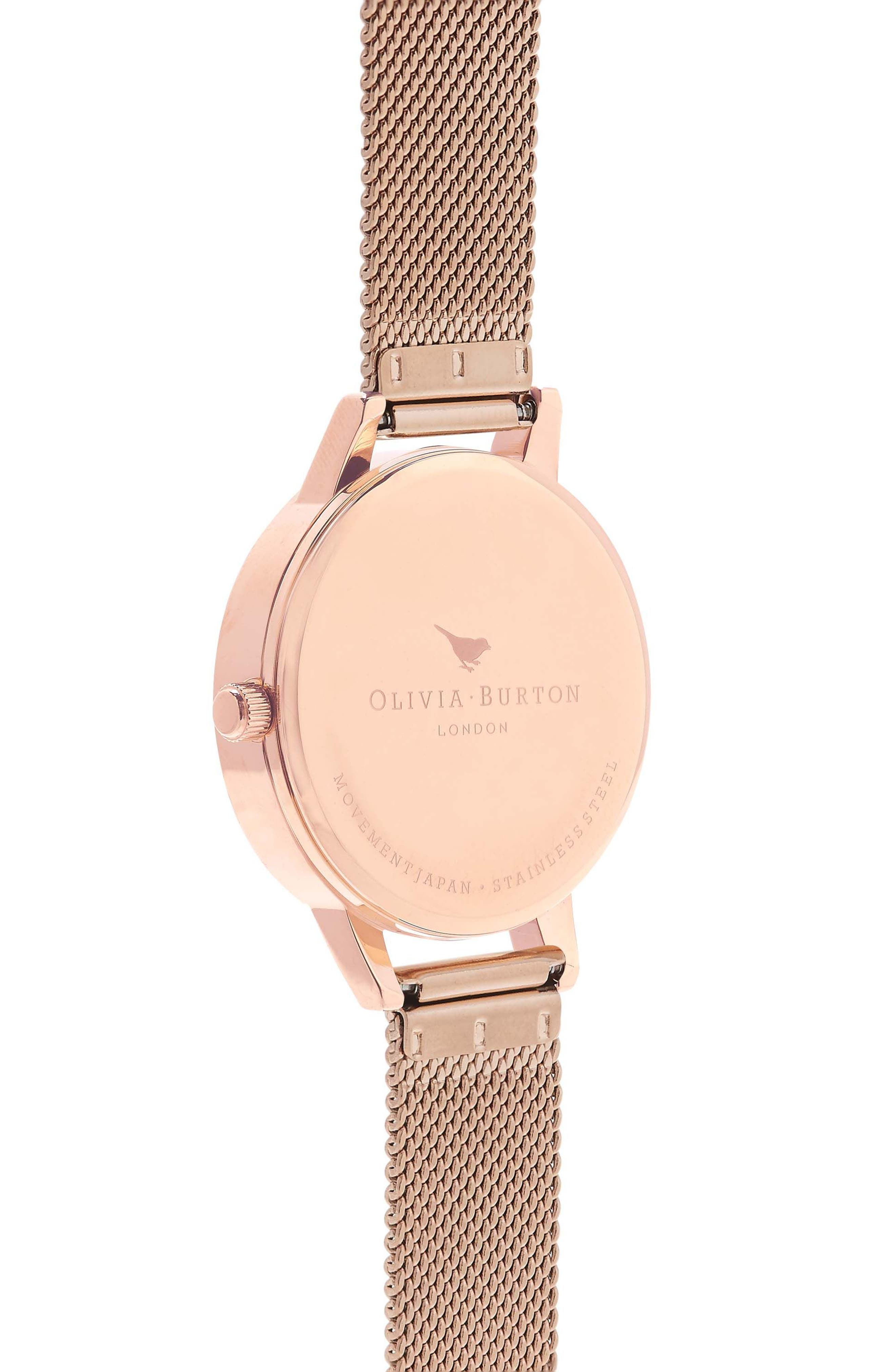 Mesh Strap Watch, 30mm,                             Alternate thumbnail 3, color,                             ROSE GOLD/ WHITE/ ROSE GOLD