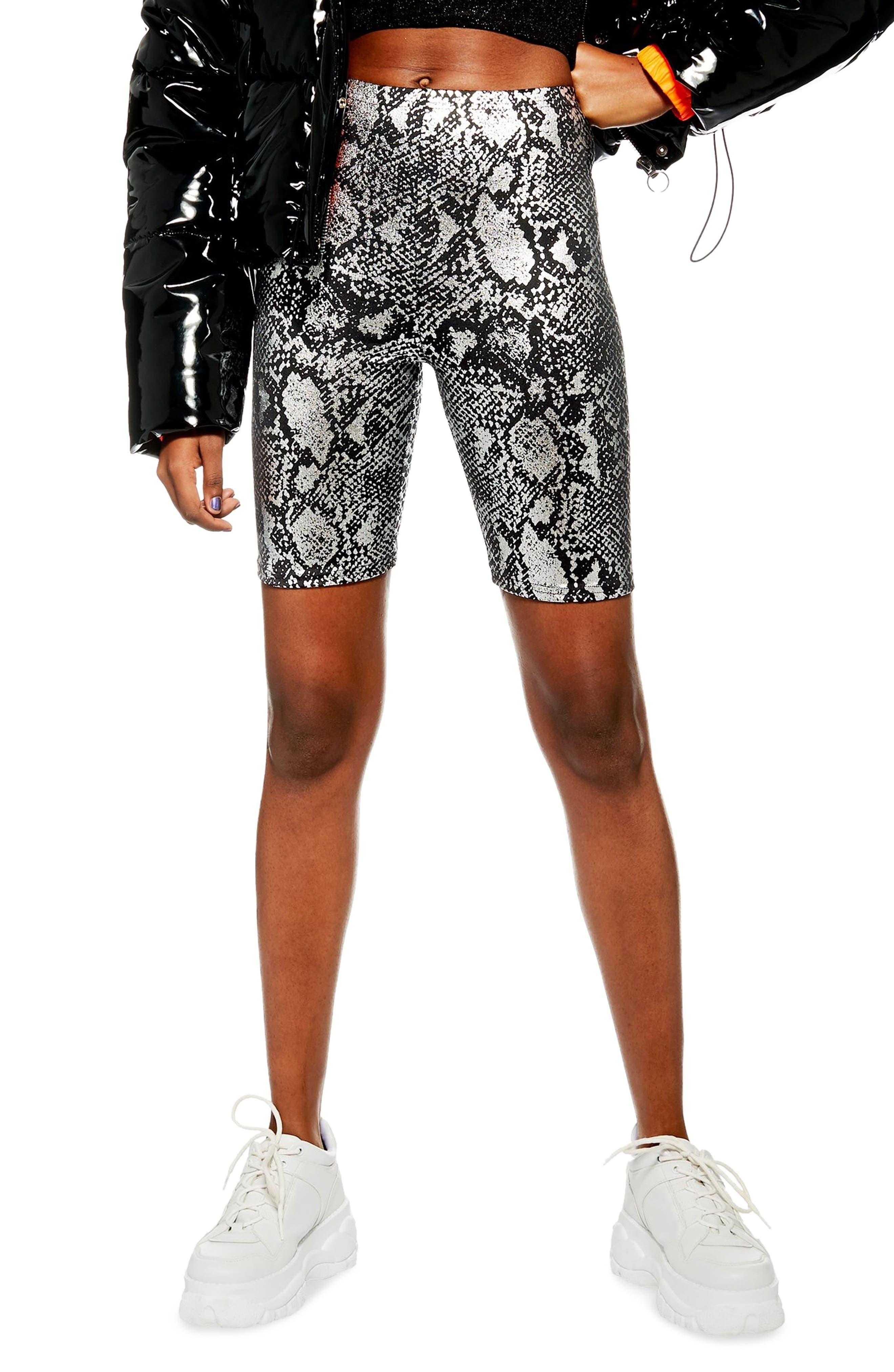 Foil Snake Print Cycling Shorts,                         Main,                         color, BLACK MULTI