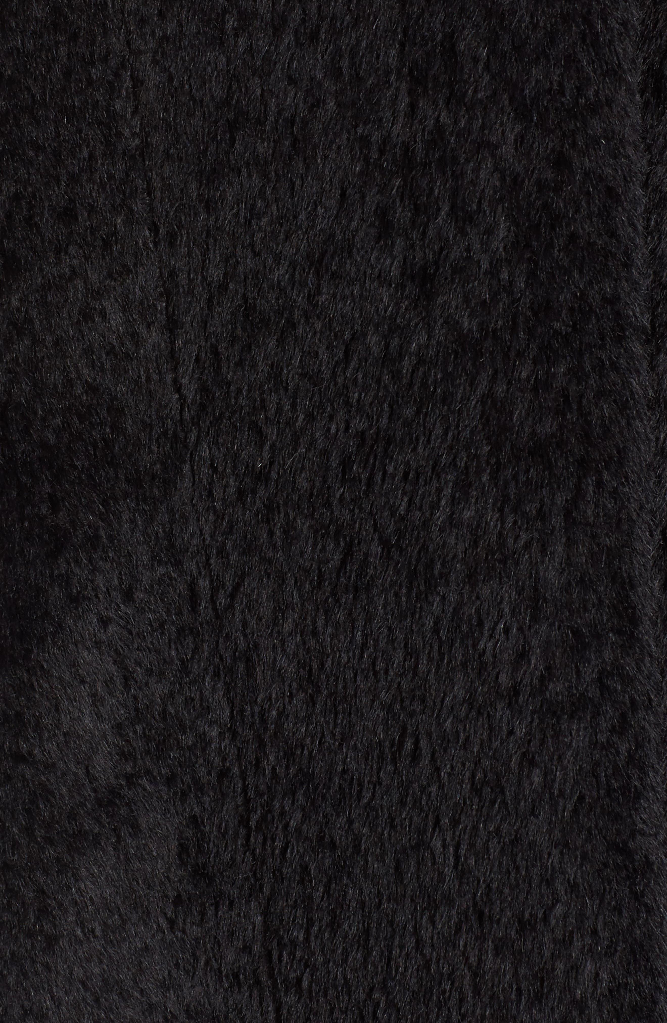 Hooded Genuine Fox Fur Trim Wool Blend Cape,                             Alternate thumbnail 6, color,                             003