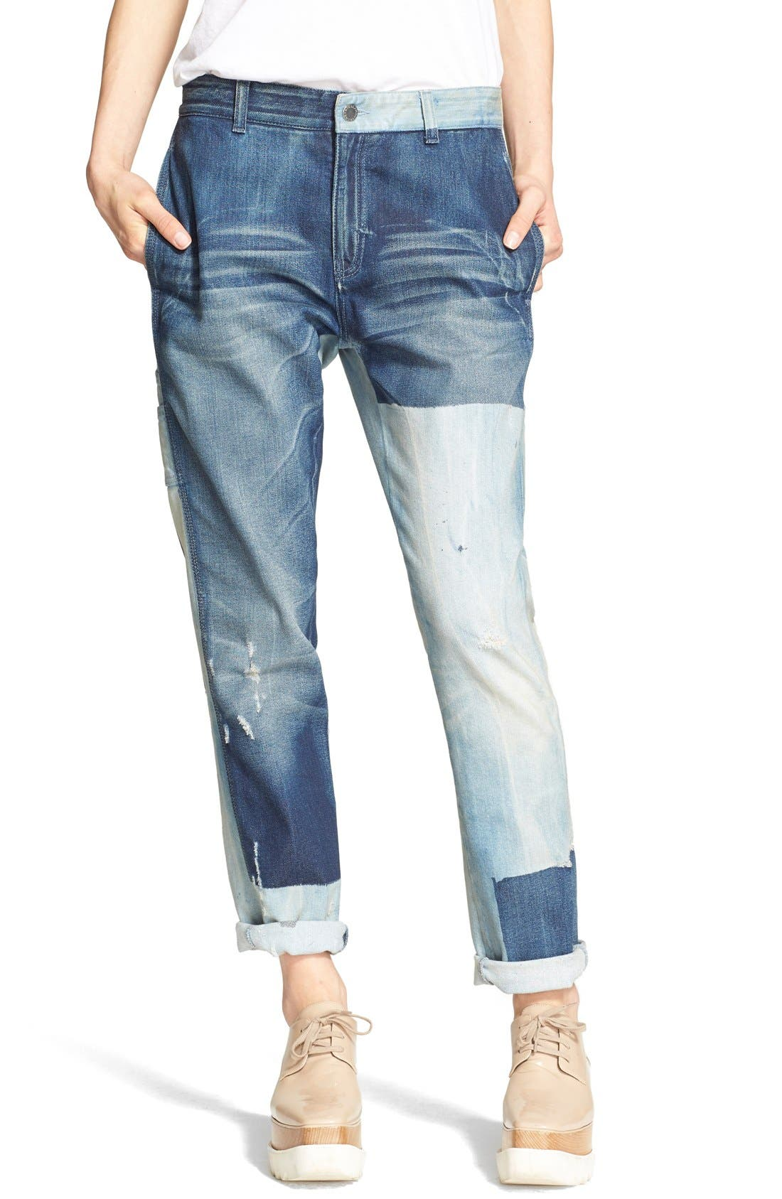 STELLA MCCARTNEY,                             'The Patchwork' Boyfriend Jeans,                             Main thumbnail 1, color,                             476