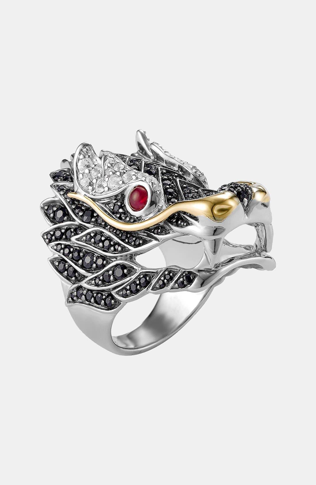 'Naga' Dragon Cocktail Ring,                             Main thumbnail 1, color,                             SILVER/ RUBY