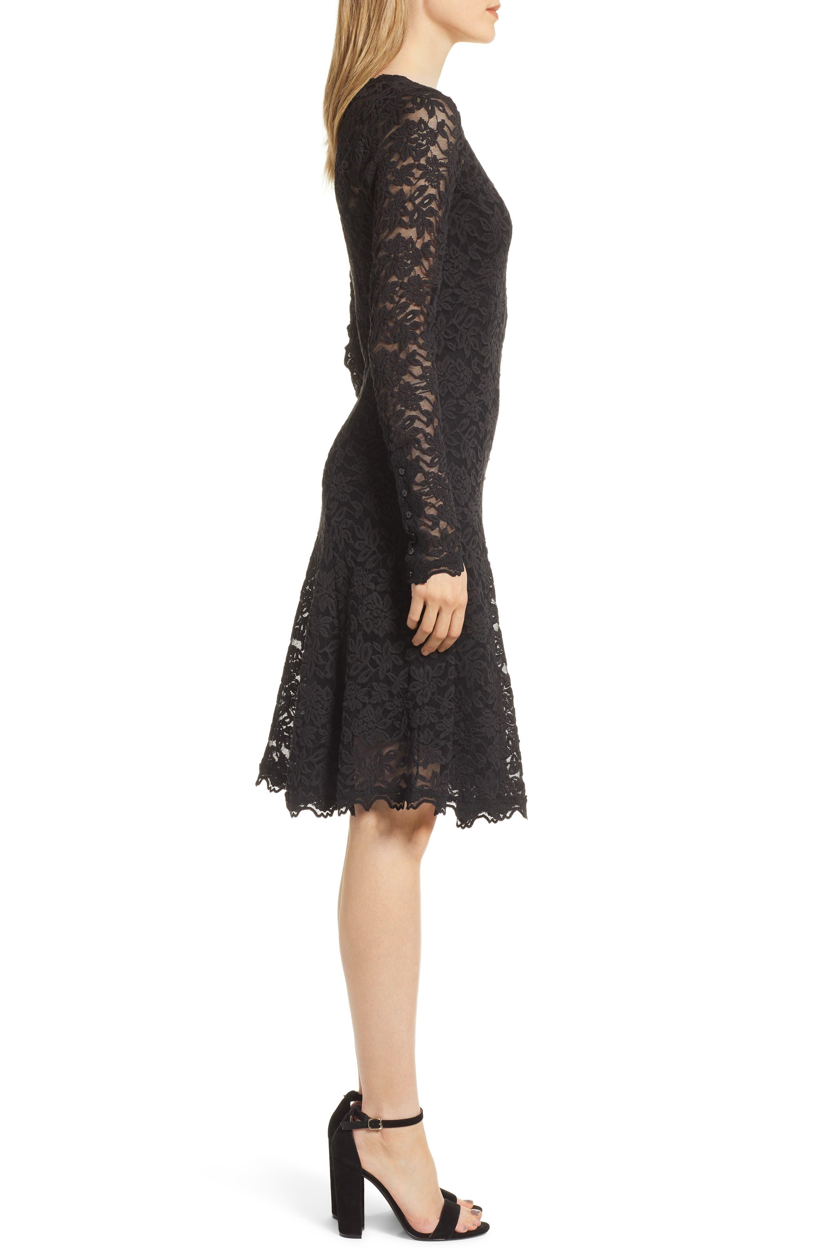 Delicia Fit & Flare Lace Dress,                             Alternate thumbnail 3, color,                             BLACK