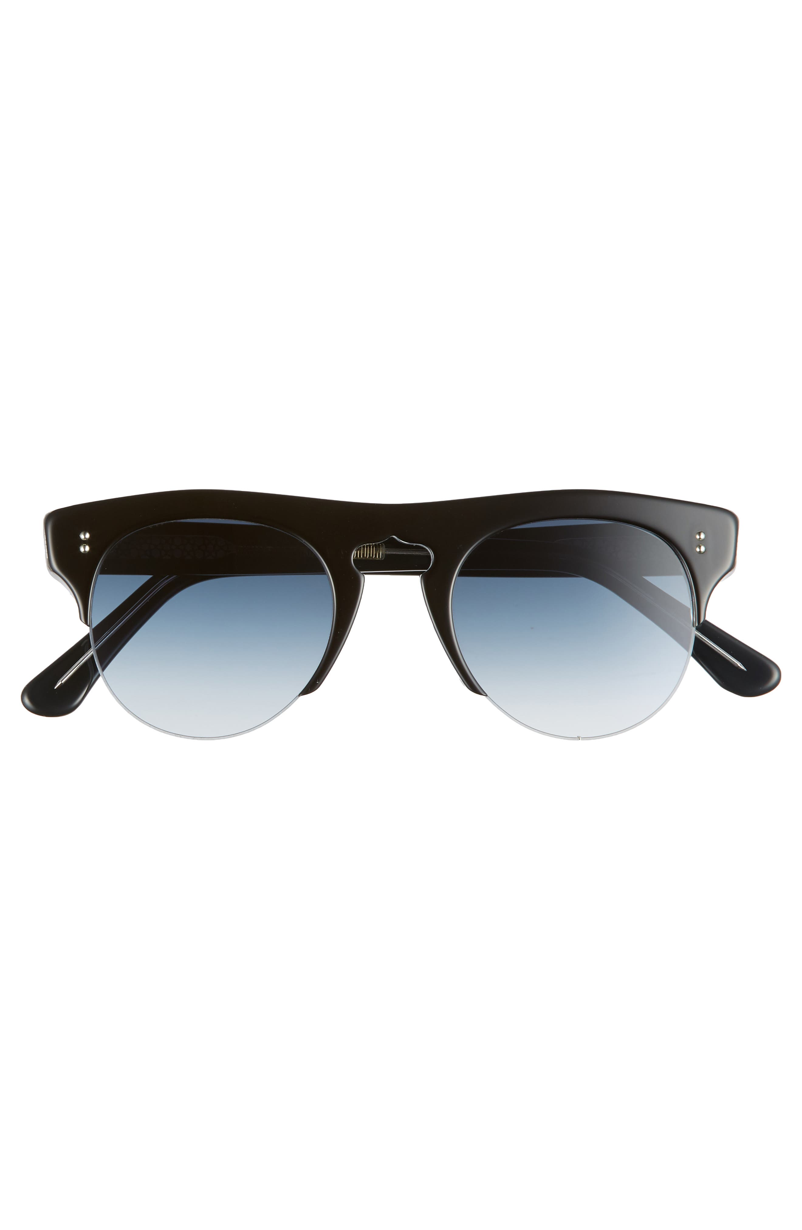 48mm Polarized Browline Sunglasses,                             Alternate thumbnail 2, color,                             BLACK ON CRYSTAL/ BLUE