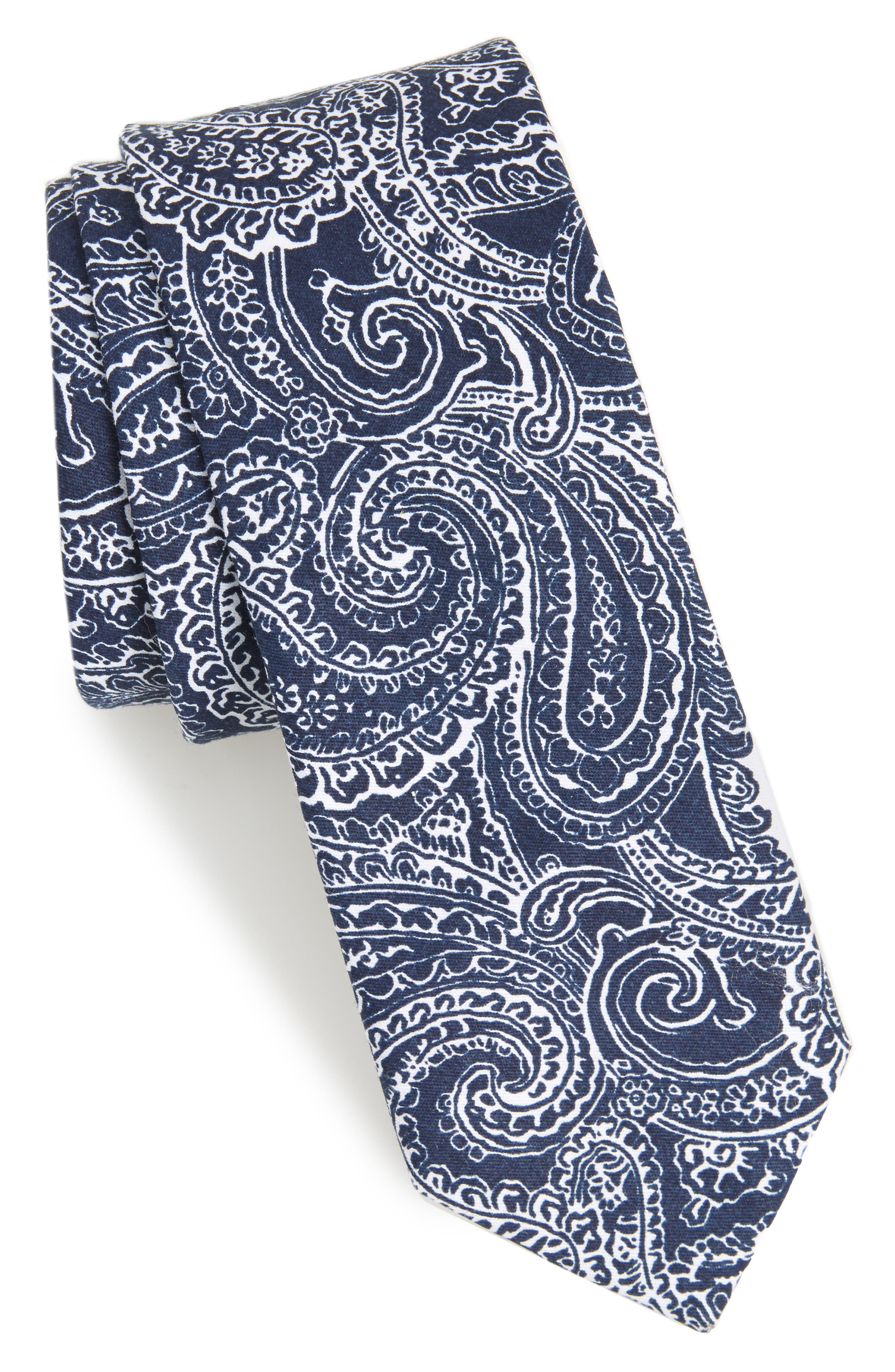 Lee Paisley Cotton Tie,                             Main thumbnail 2, color,