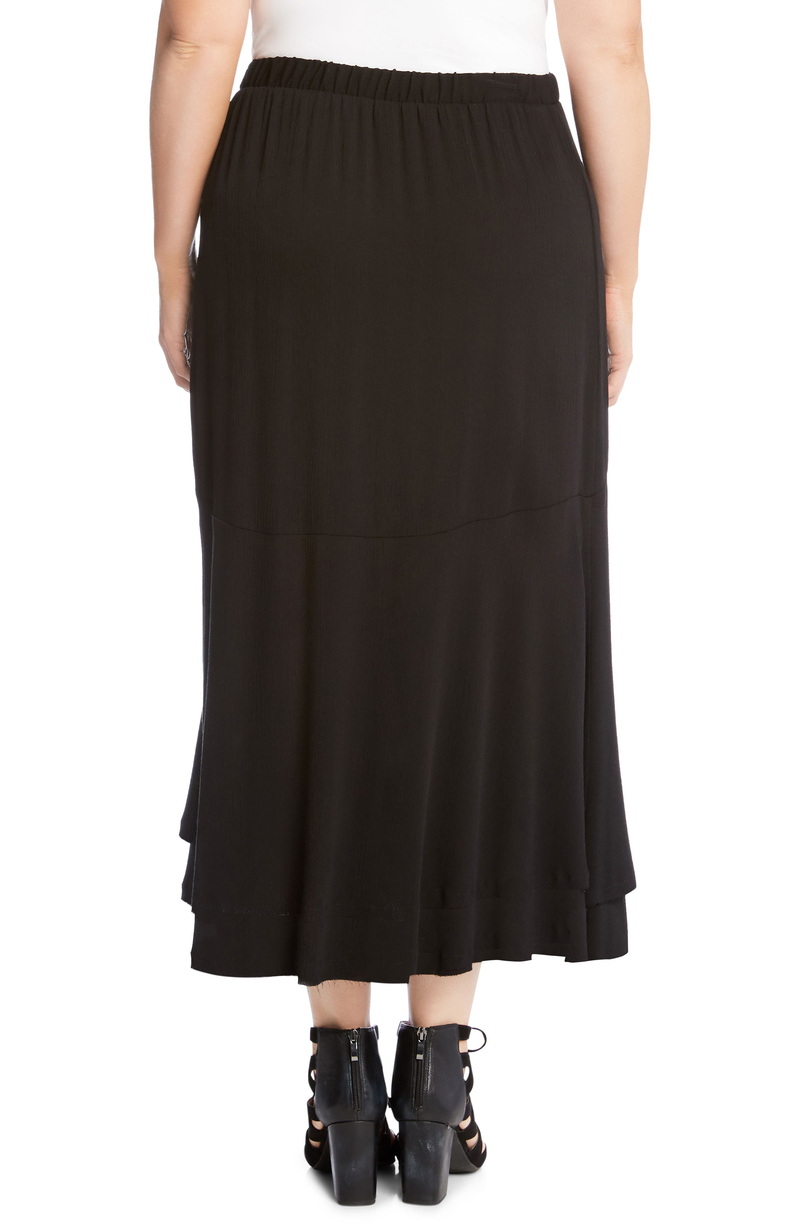 Asymmetrical Hem High/Low Skirt,                             Alternate thumbnail 2, color,                             001