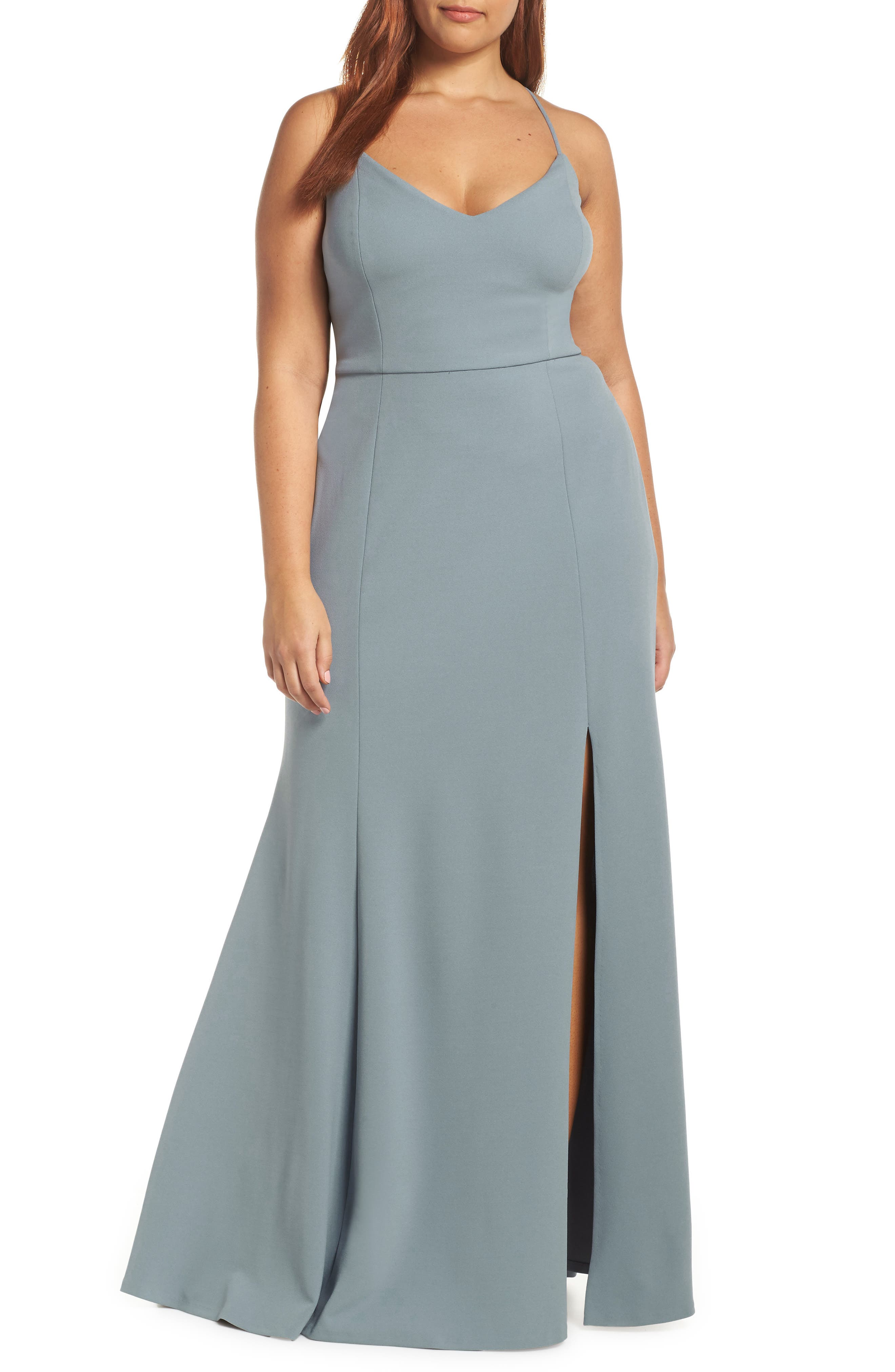 Reese Crepe Knit Gown,                             Alternate thumbnail 2, color,                             MAYAN BLUE