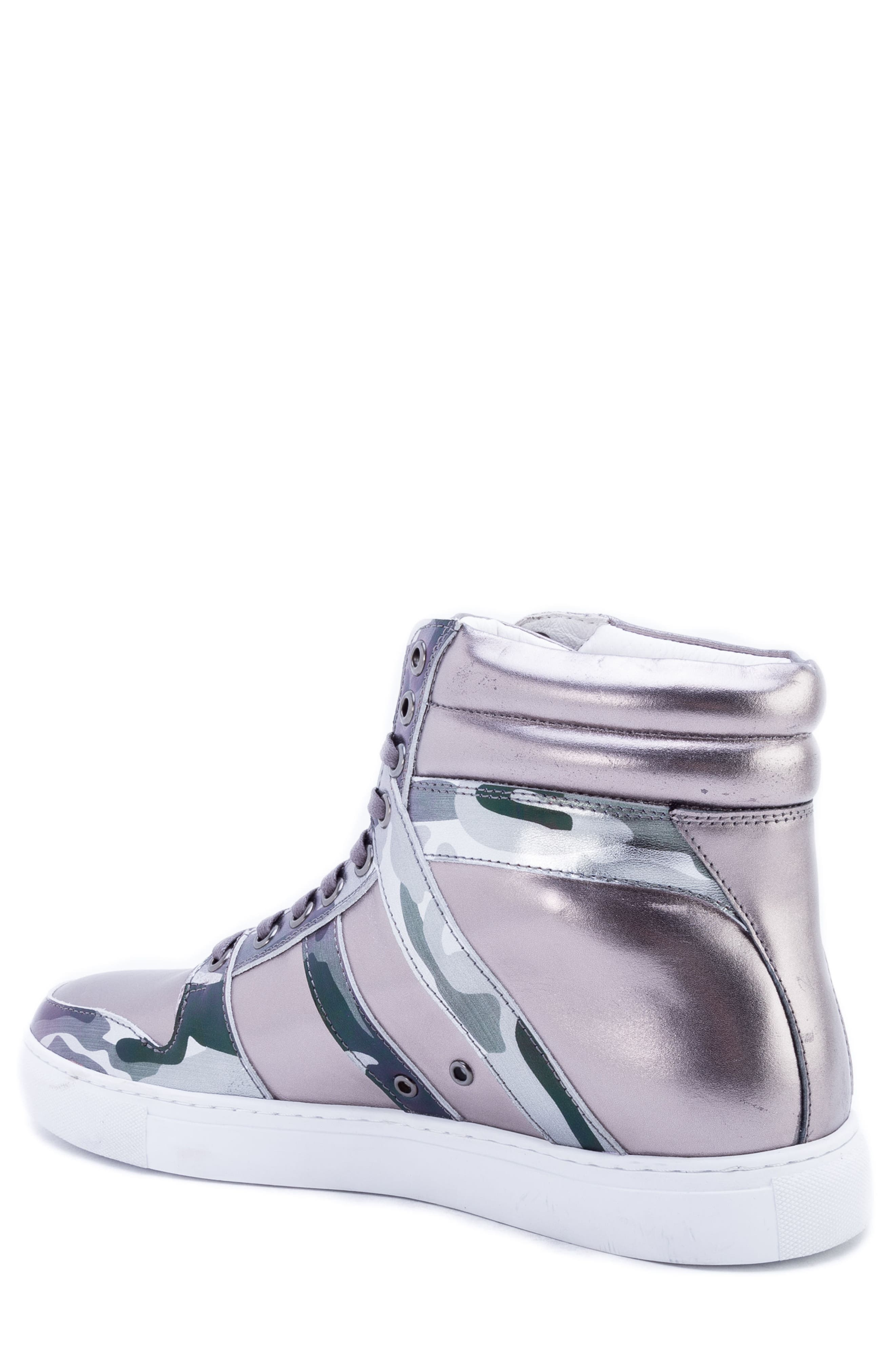 Badgley Mischka Sutherland Sneaker,                             Alternate thumbnail 2, color,                             GREY LEATHER