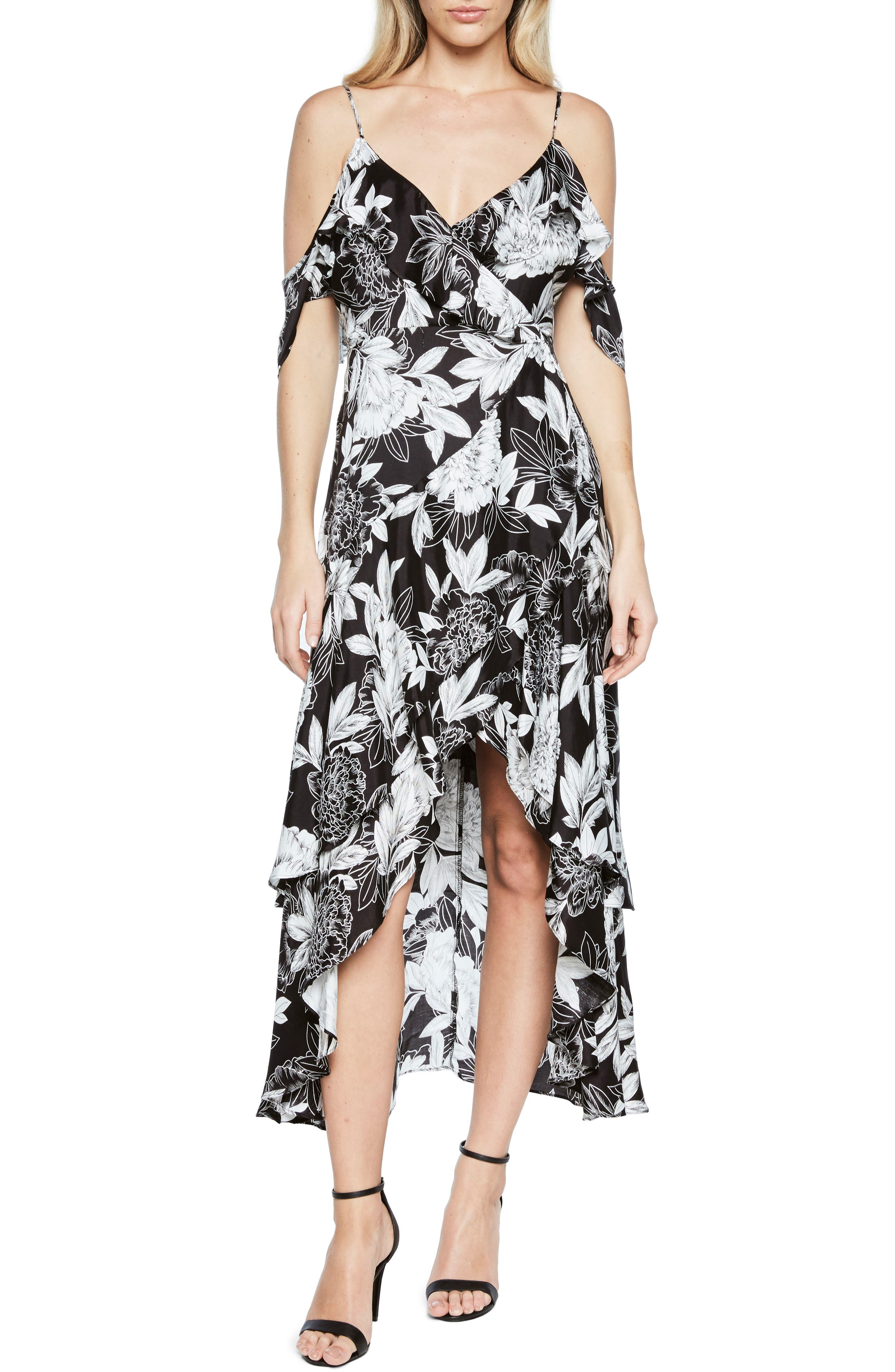 Frankie Frill Floral Dress,                             Main thumbnail 1, color,                             001