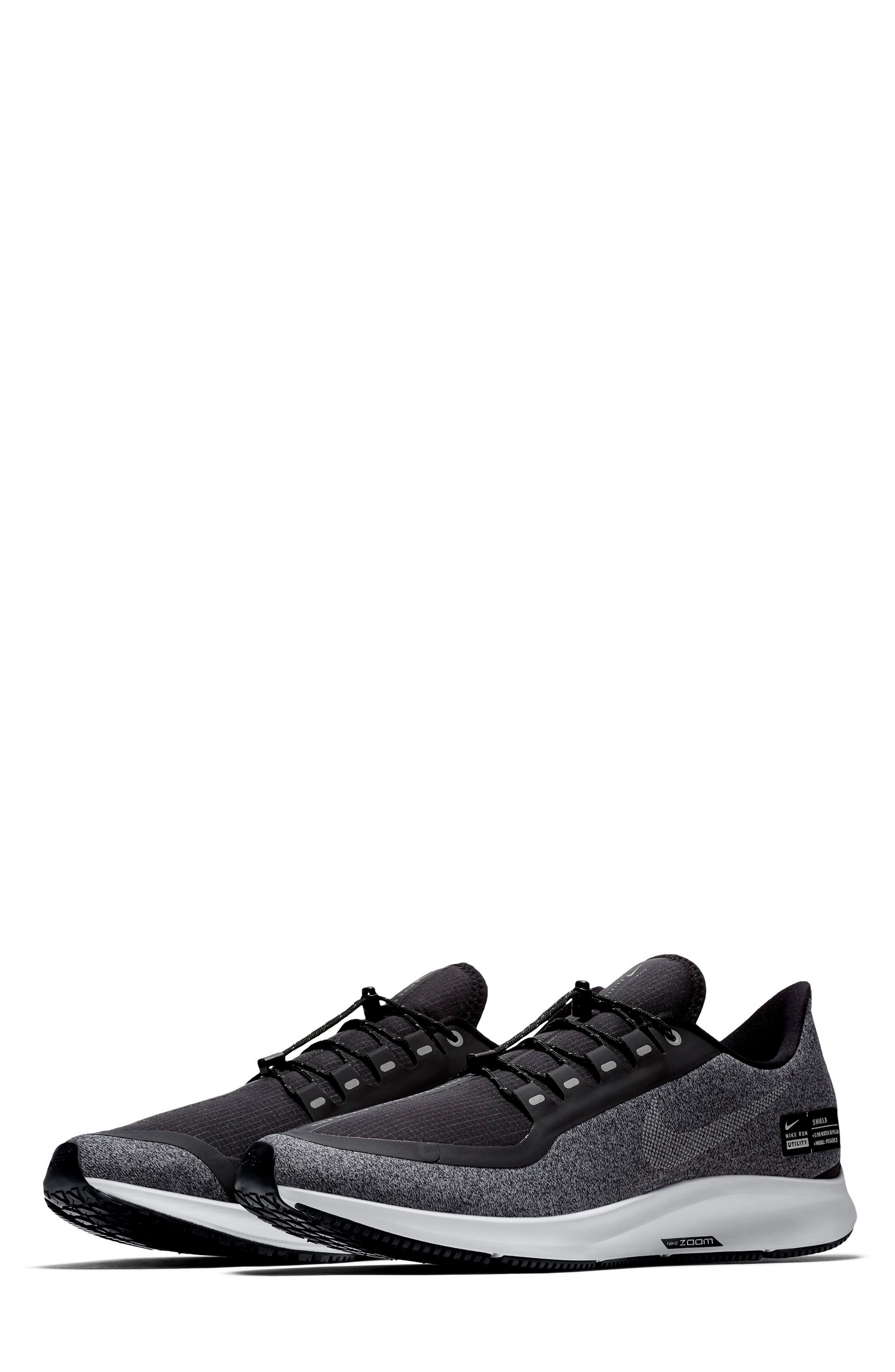 Air Zoom Pegasus 35 Shield Water Repellent Running Shoe,                             Main thumbnail 1, color,                             BLACK/ WHITE/ COOL GREY
