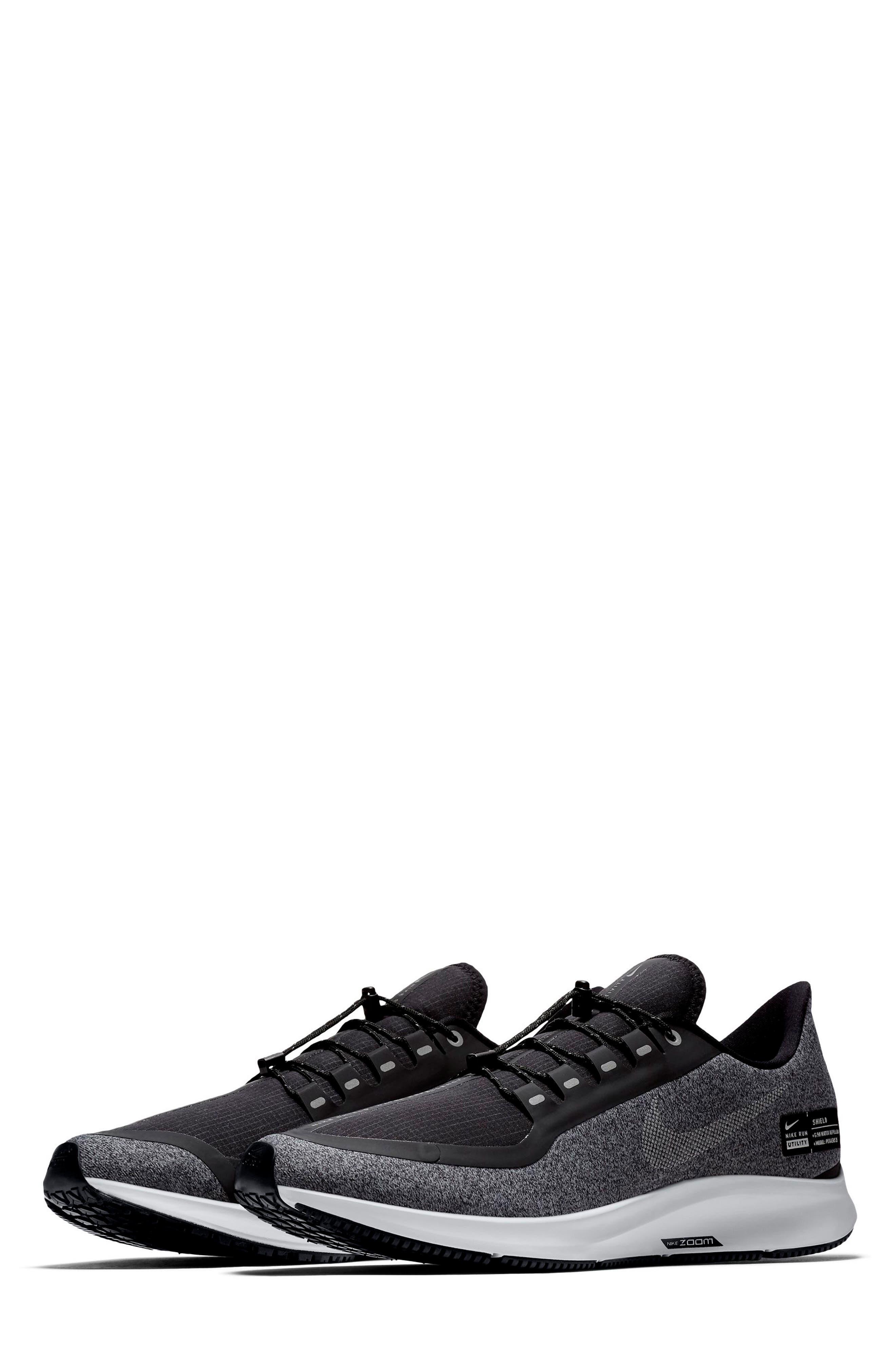 Air Zoom Pegasus 35 Shield Water Repellent Running Shoe,                         Main,                         color, BLACK/ WHITE/ COOL GREY