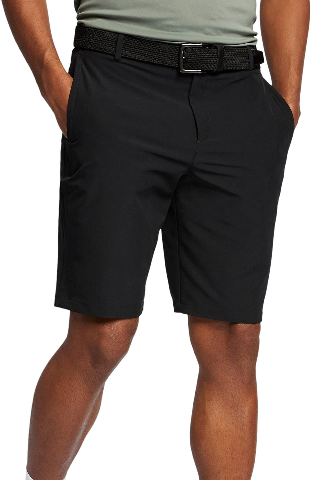 Flex Hybrid Standard Fit Golf Shorts,                             Main thumbnail 1, color,                             BLACK/ BLACK