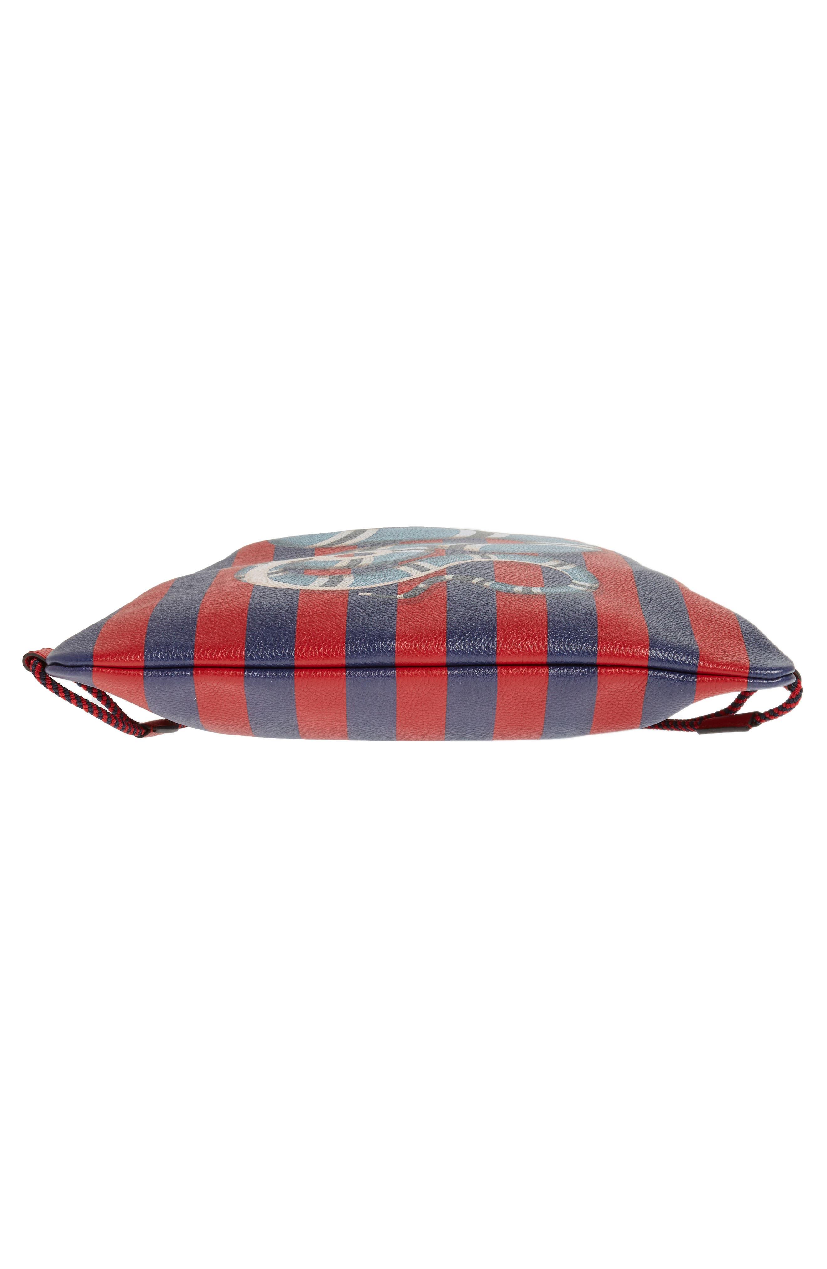 Kingsnake Stripe Leather Drawstring Backpack,                             Alternate thumbnail 6, color,                             RED