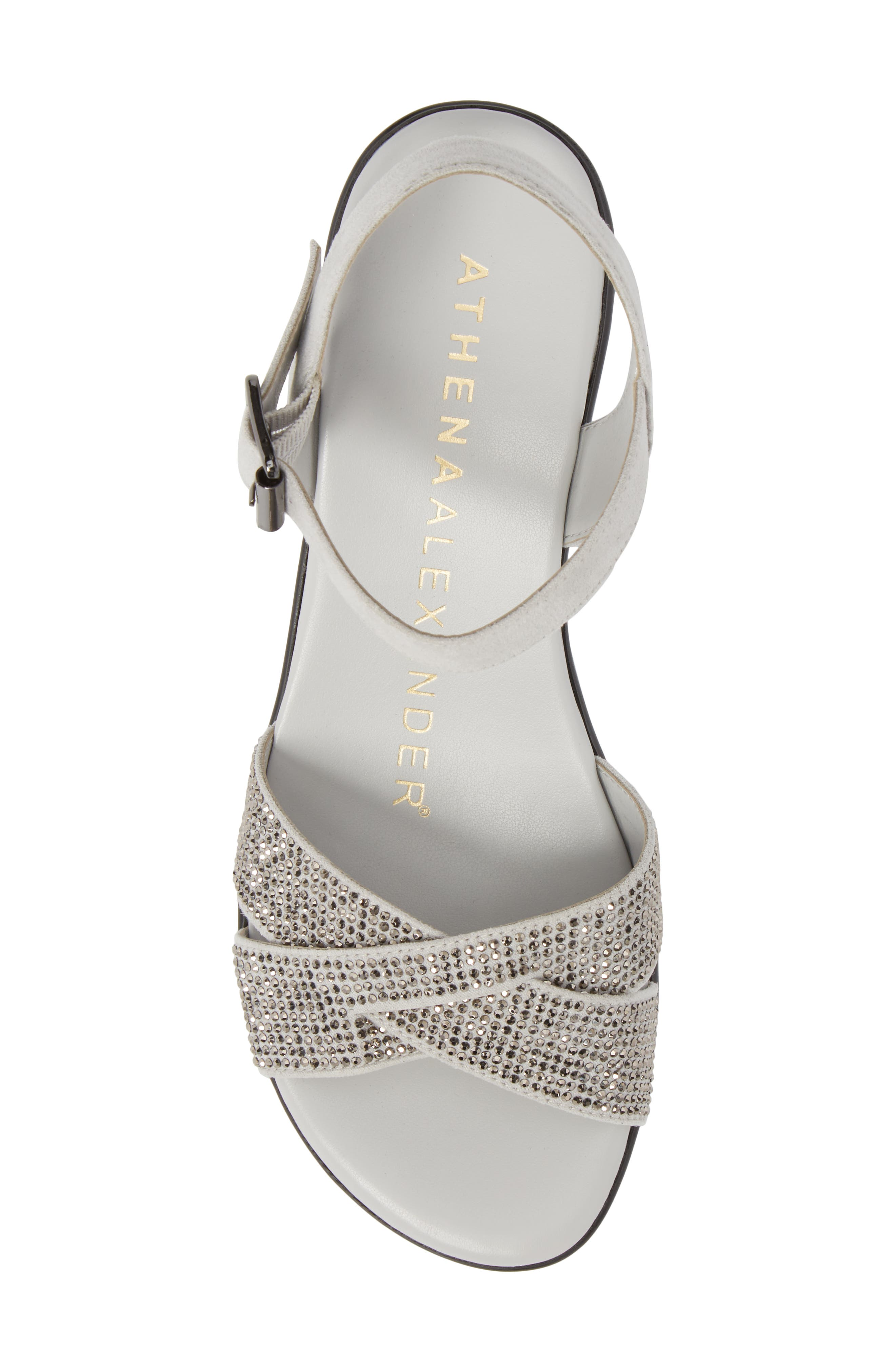 Florence Wedge Sandal,                             Alternate thumbnail 5, color,                             GREY FAUX SUEDE