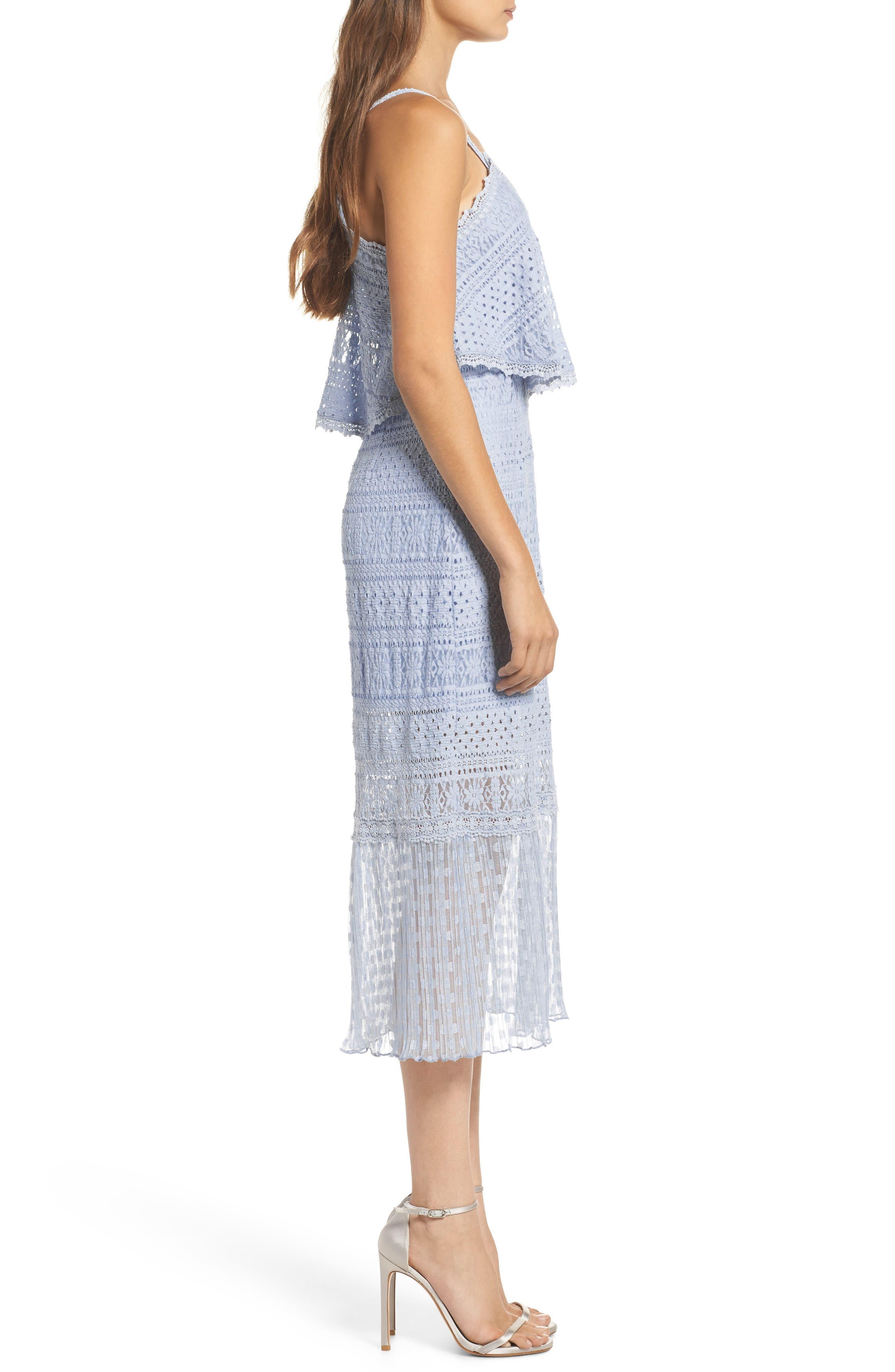 Ellie Lace Popover Midi Dress,                             Alternate thumbnail 3, color,                             400
