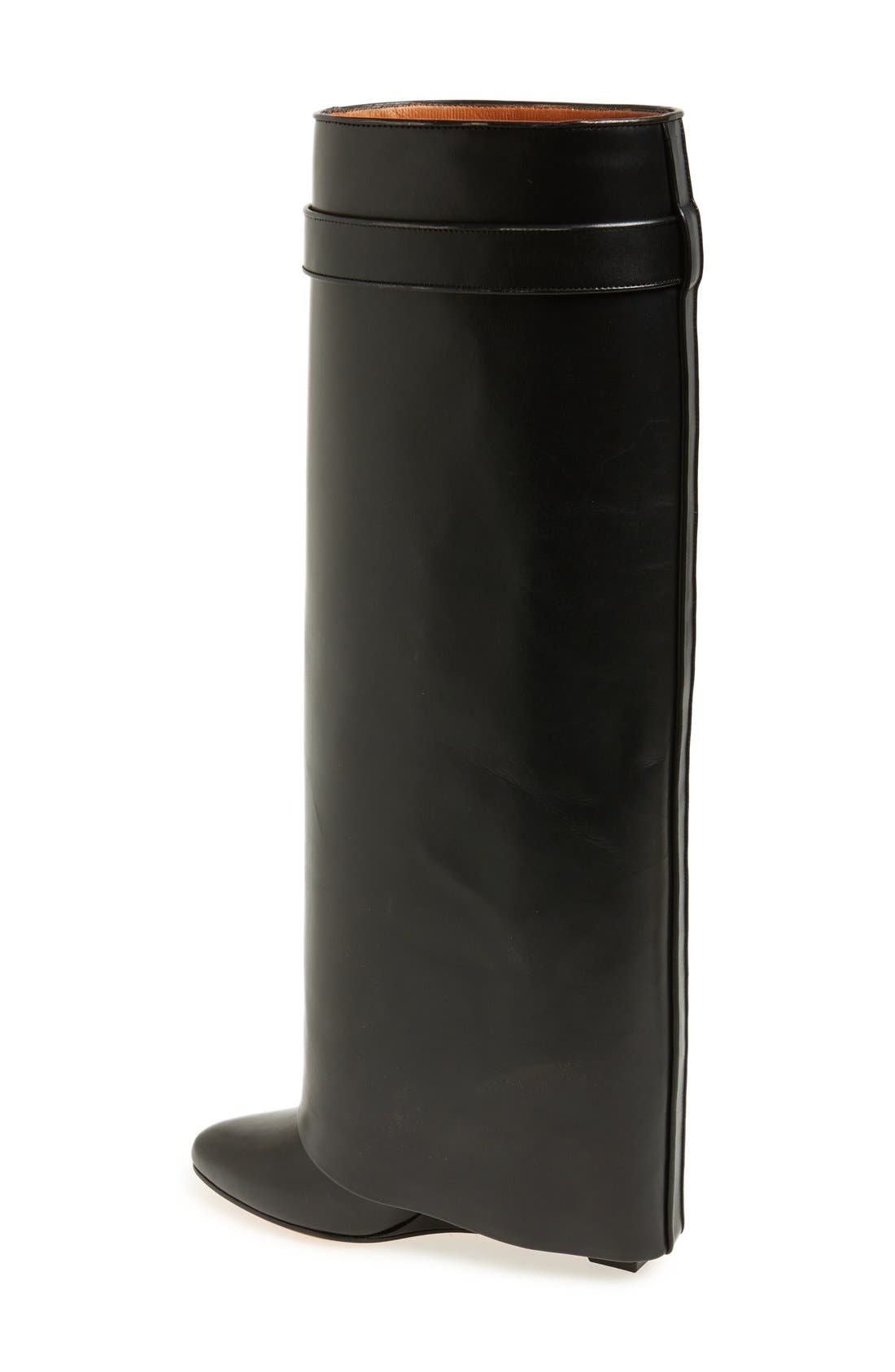 Shark-Tooth Pant-Leg Knee Boot,                             Alternate thumbnail 5, color,                             001