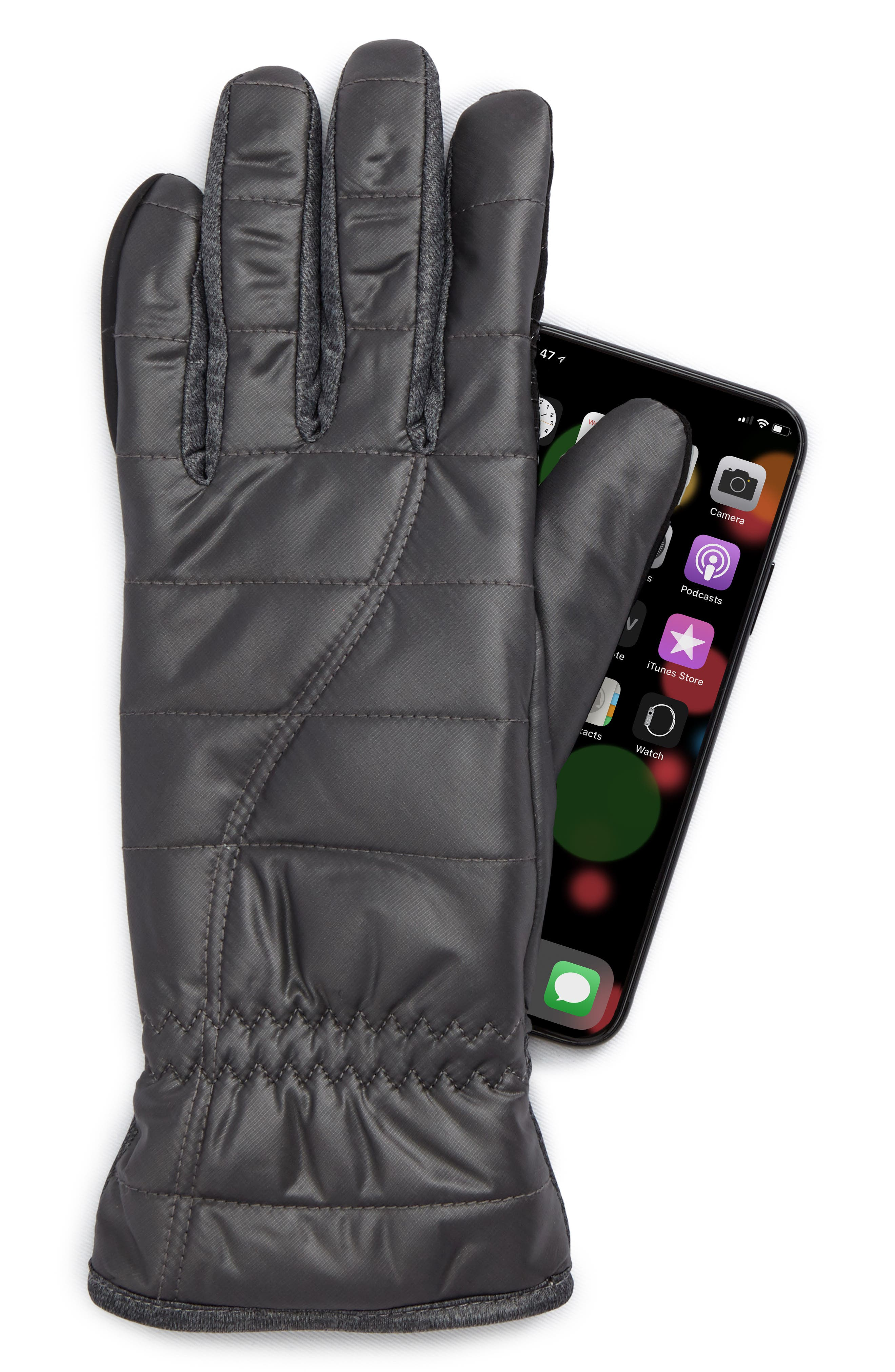 Quilted Touchscreen Compatible Gloves,                             Alternate thumbnail 2, color,                             DARK GREY